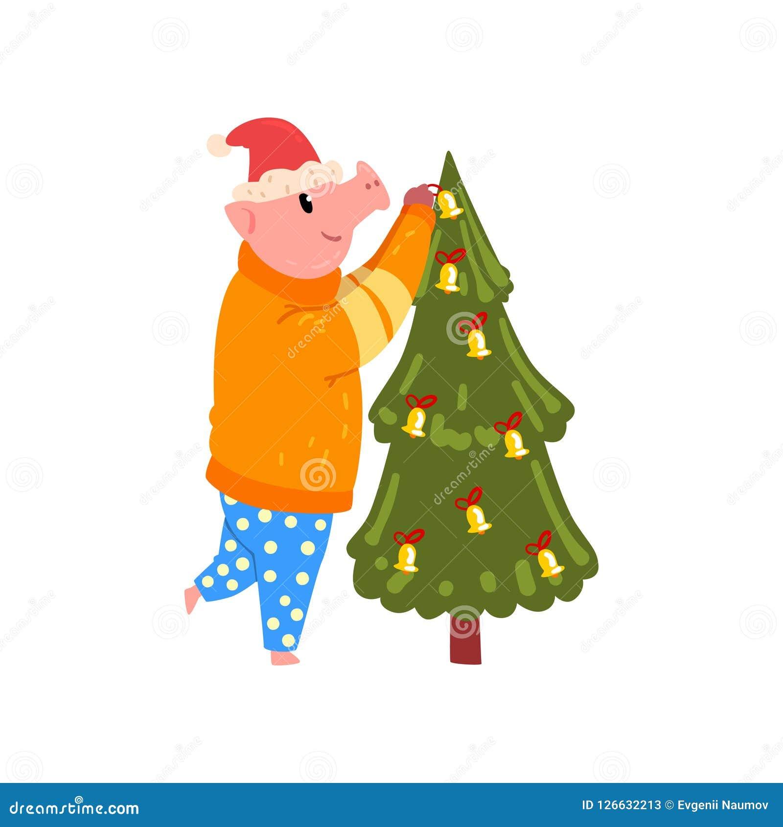O porco bonito que decora a árvore de Natal, caráter leitão engraçado vestiu-se na roupa e no chapéu brilhantes mornos de Santa,  Ilustração do Vetor