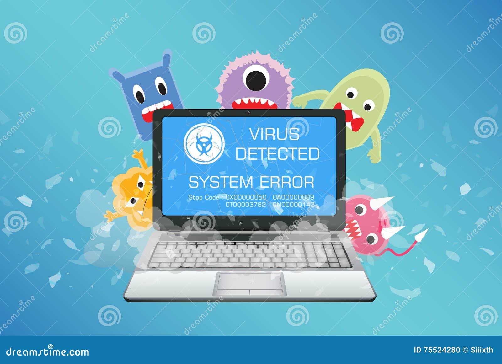 O portátil quebrado com computador do vírus detecta