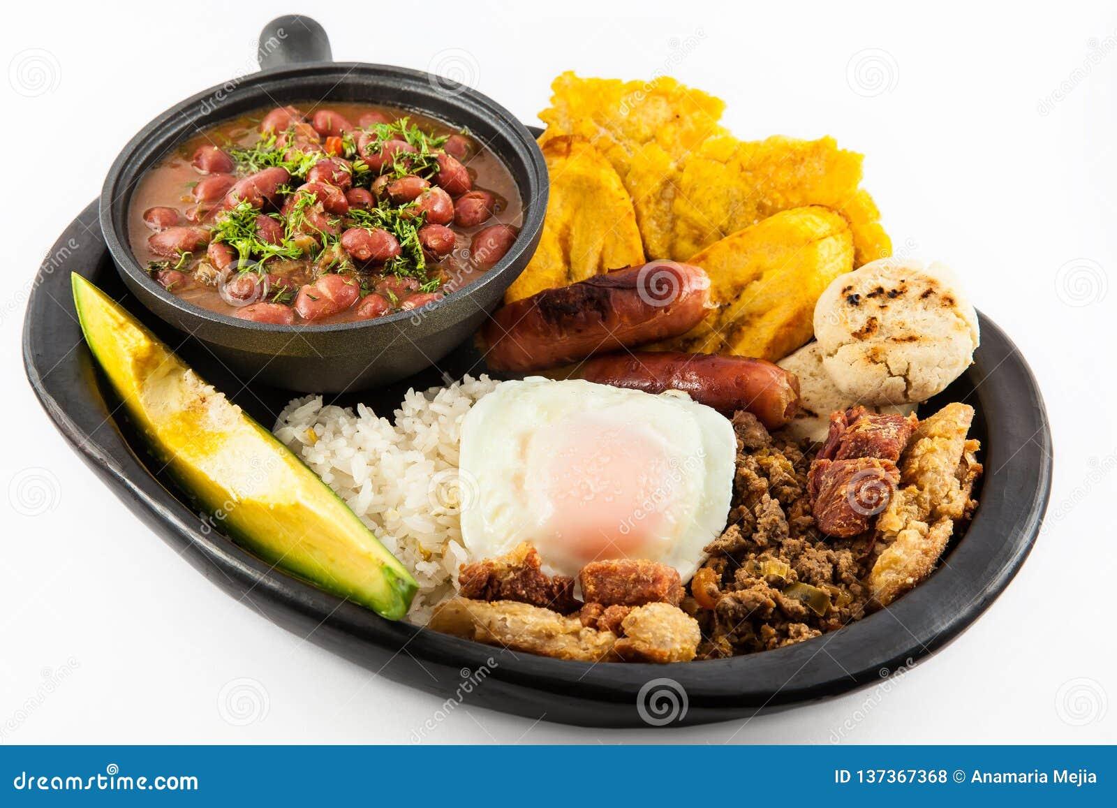 O prato colombiano tradicional chamou o paisa de Banda