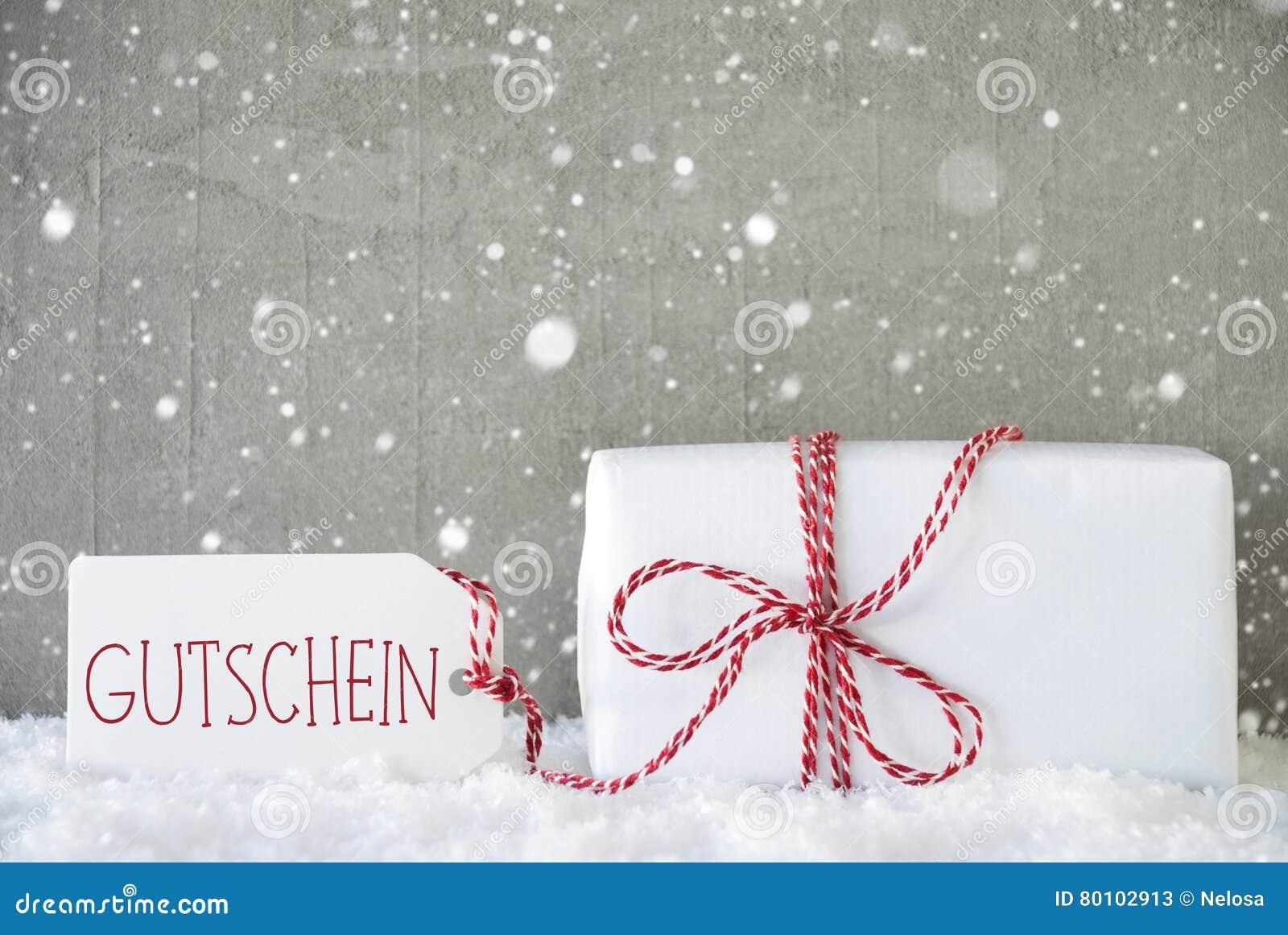 O presente, fundo com flocos de neve, Gutschein do cimento significa o comprovante