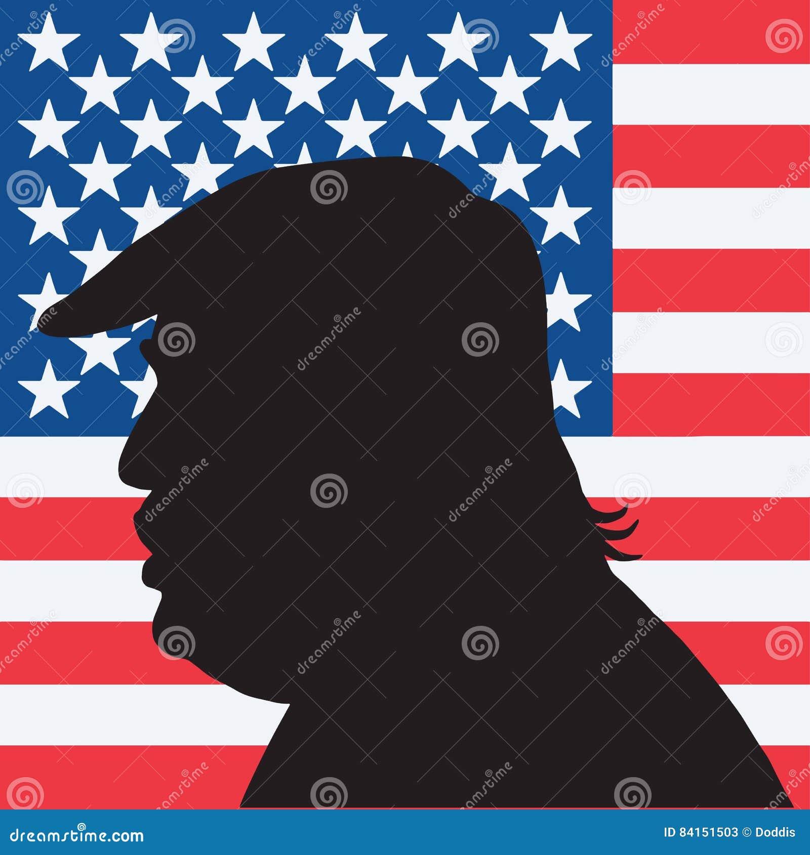 45.o Presidente de los Estados Unidos Donald Trump Portrait Silhouette con la bandera americana