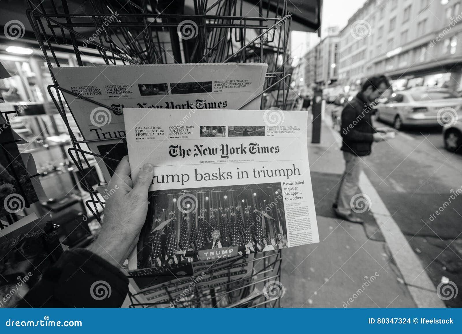 O presidente novo de New York Times Donald Trump EUA