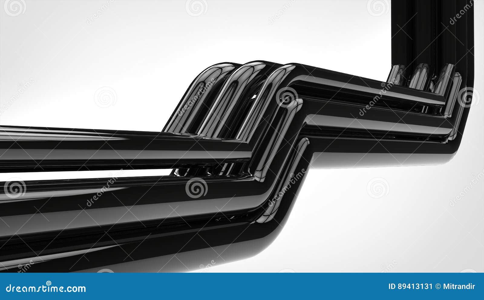 O preto brilhante de Apstract conduz o tiro do close up