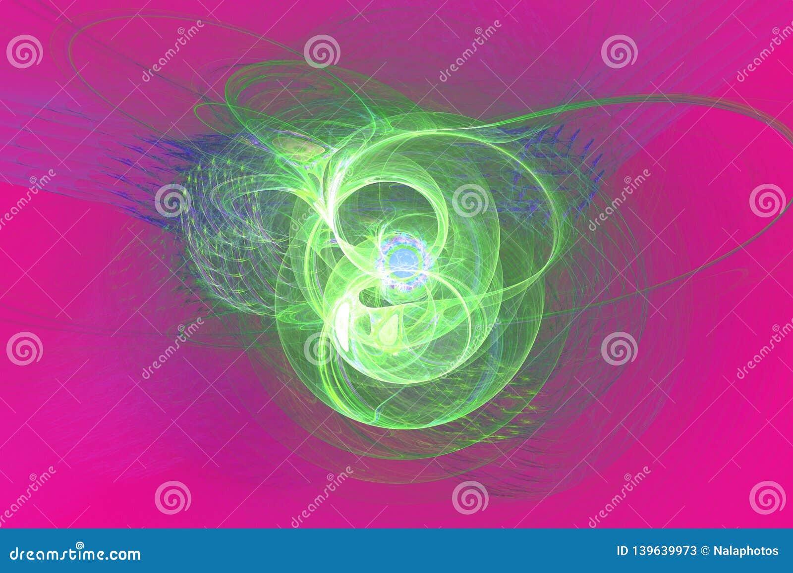 O preto do papel de parede do fractal de Fraktal e as formas geométricas coloridas ilustram a galáxia da explosão da frequência d