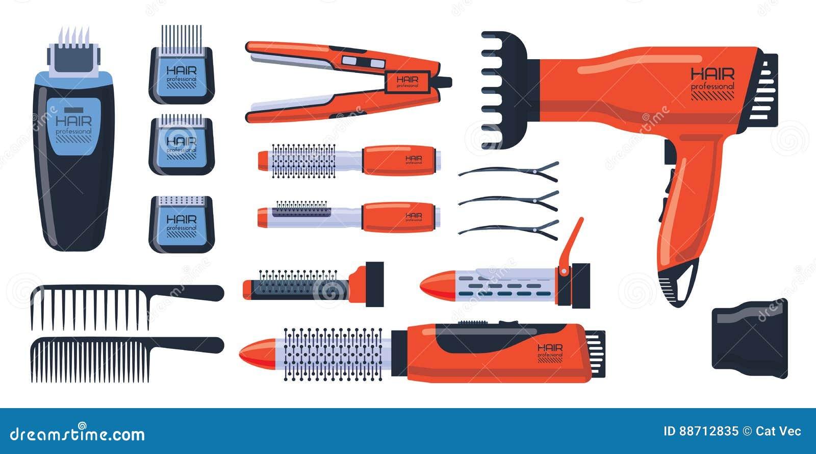 O profissional do salão de beleza do barbeiro ajustou-se com equipamento das ferramentas e torção do estilista de preparação do c