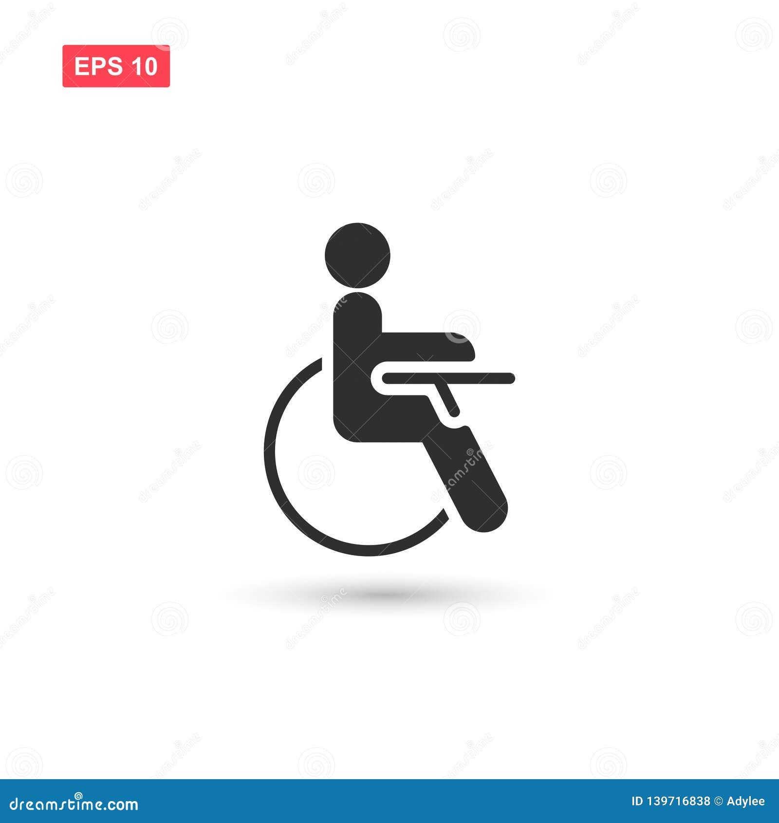 O projeto do vetor do ícone da desvantagem da inabilidade isolou 3