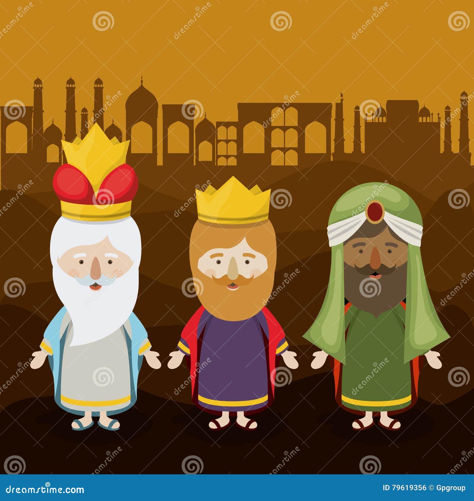 O projeto dos desenhos animados de três wisemen
