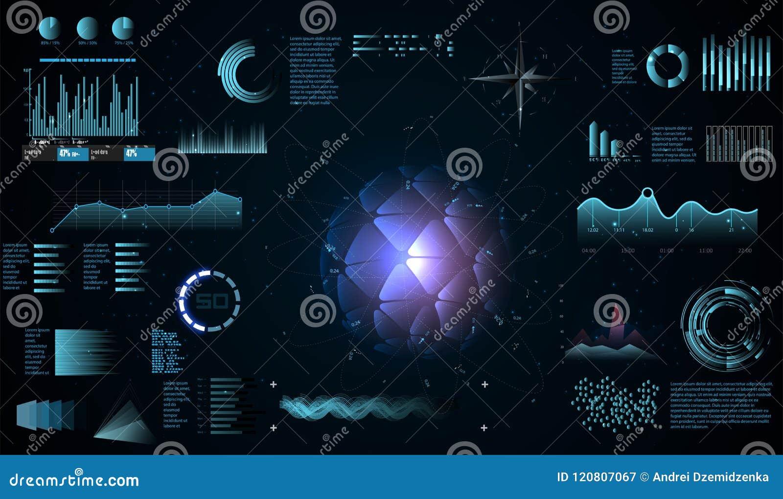 O projeto futurista do hud da relação, elementos infographic como a exploração representa graficamente ou ondas, painel futurista