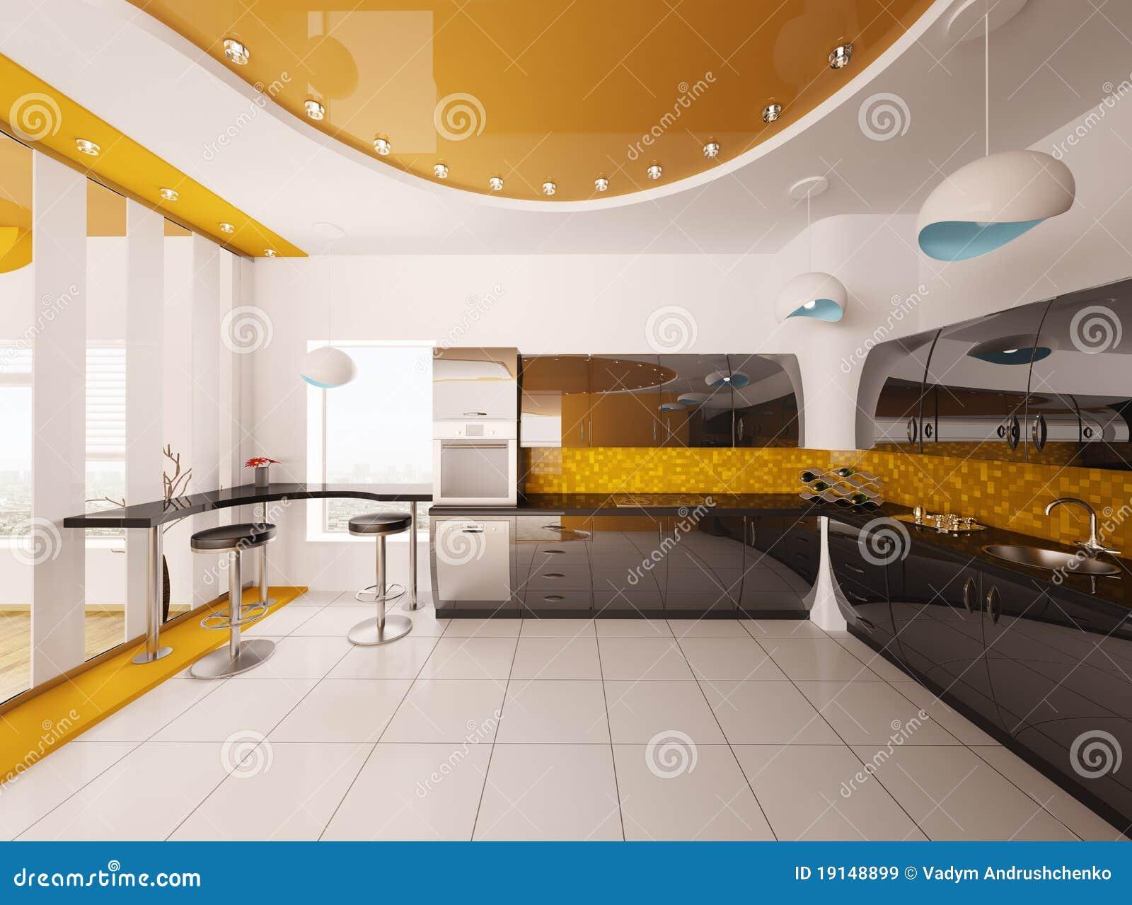 de Stock Royalty Free: O projeto interior da cozinha moderna 3d rende #B38E18 1300 1056