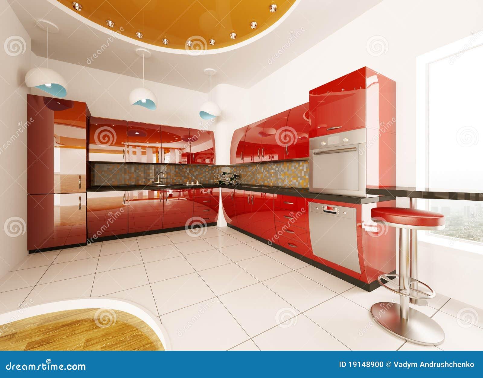 projeto interior da cozinha vermelha moderna 3d rende. #AF2C1C 1300 1035