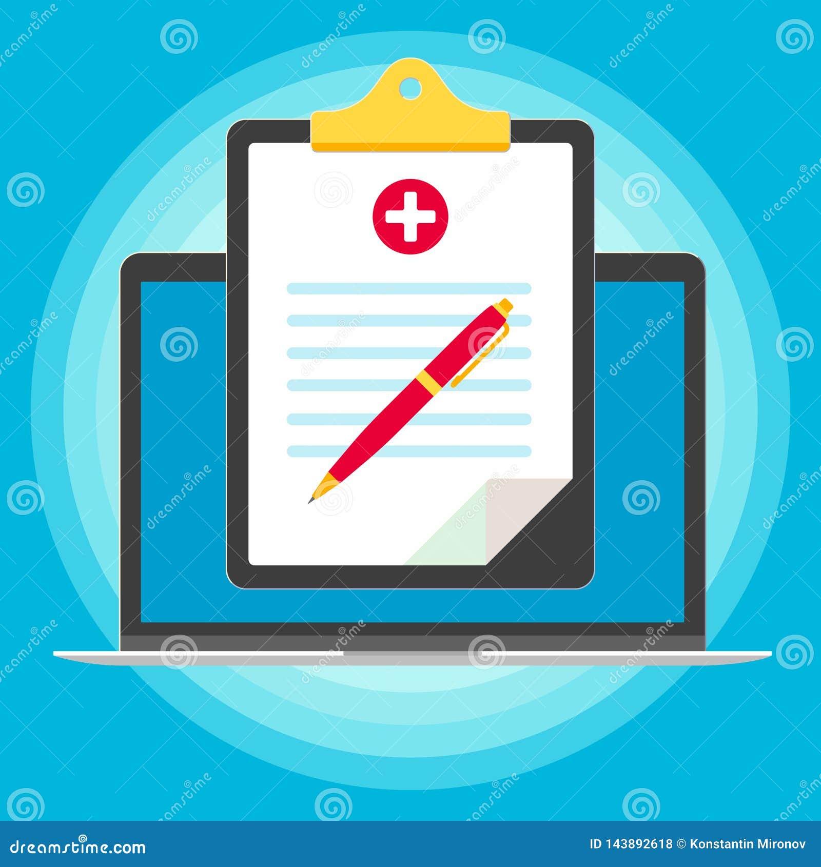 O projeto liso do portátil ou do caderno com prancheta e formulário de reclamação ou seguro médico estalou acima do illust do vet