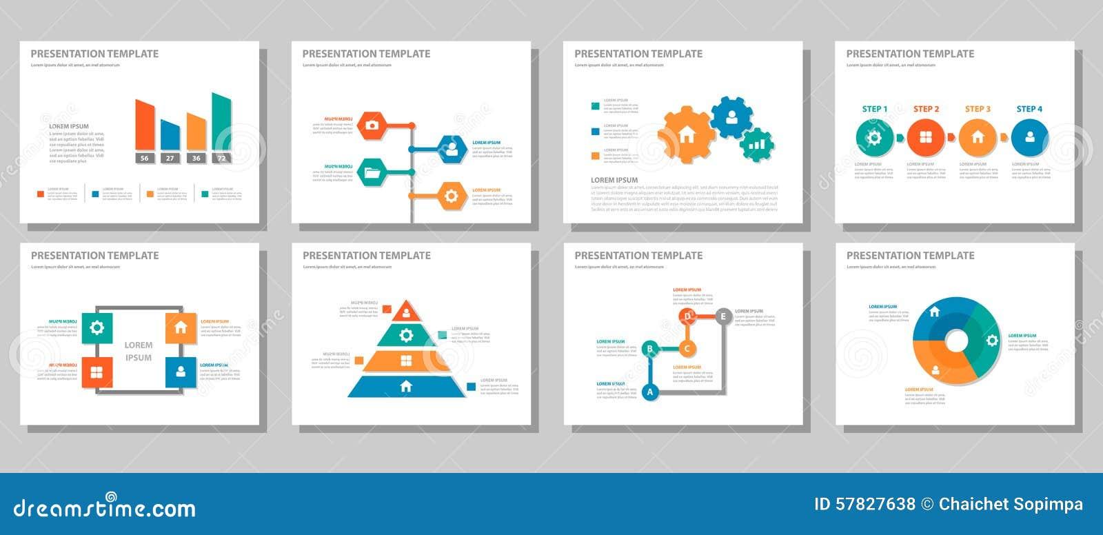 O projeto liso infographic de múltiplos propósitos alaranjado azul verde vermelho da apresentação e do elemento ajustou 2