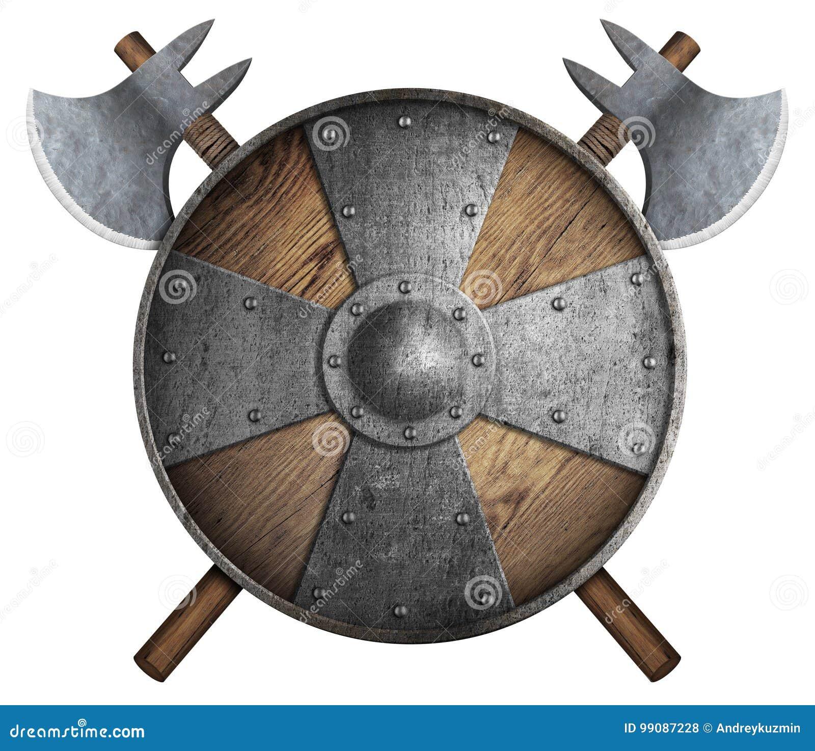 O protetor de madeira velho e dois do ` s do cruzado cruzaram a ilustração 3d isolada machados