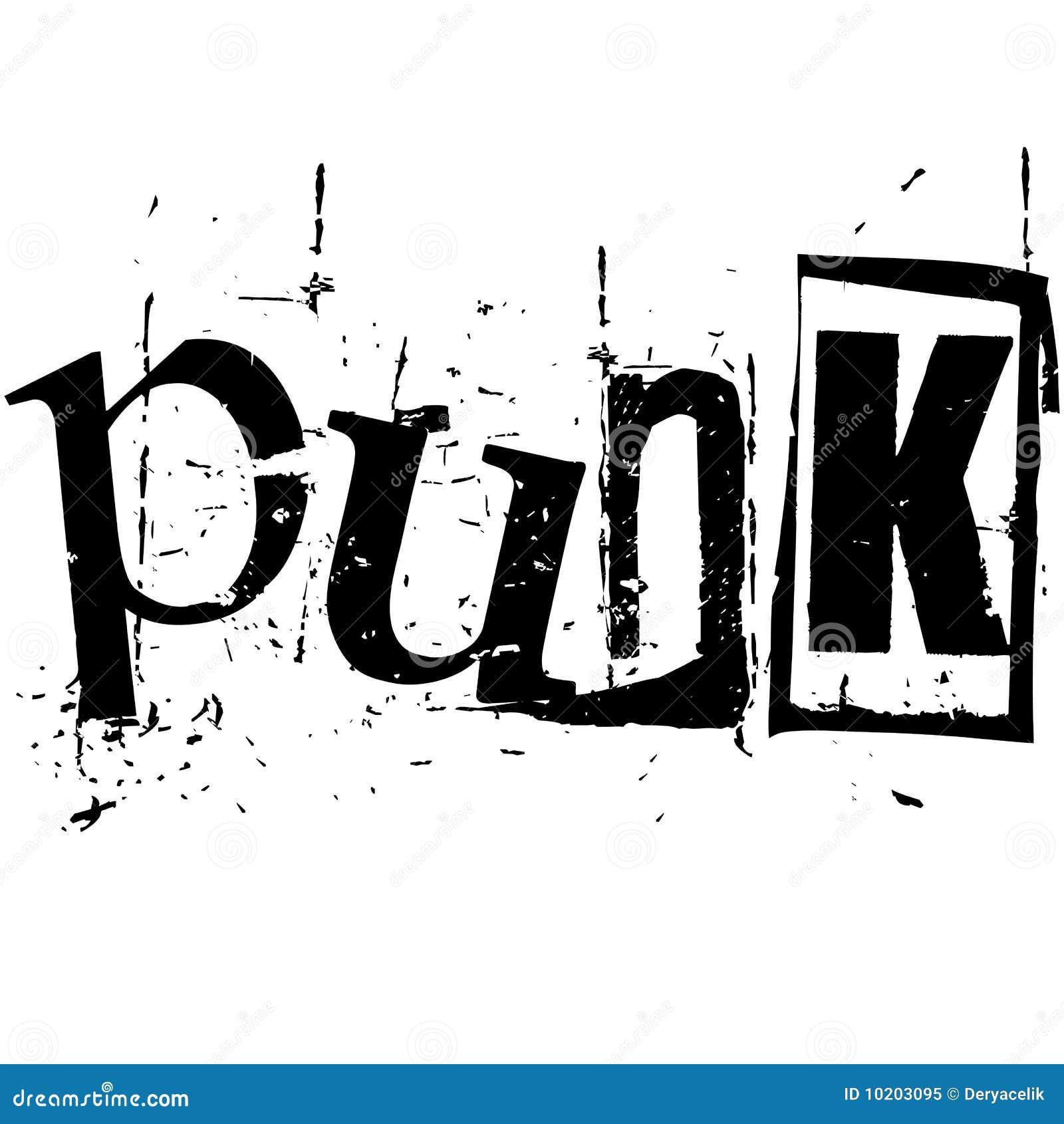 O punk da palavra escrito no estilo do entalhe do grunge