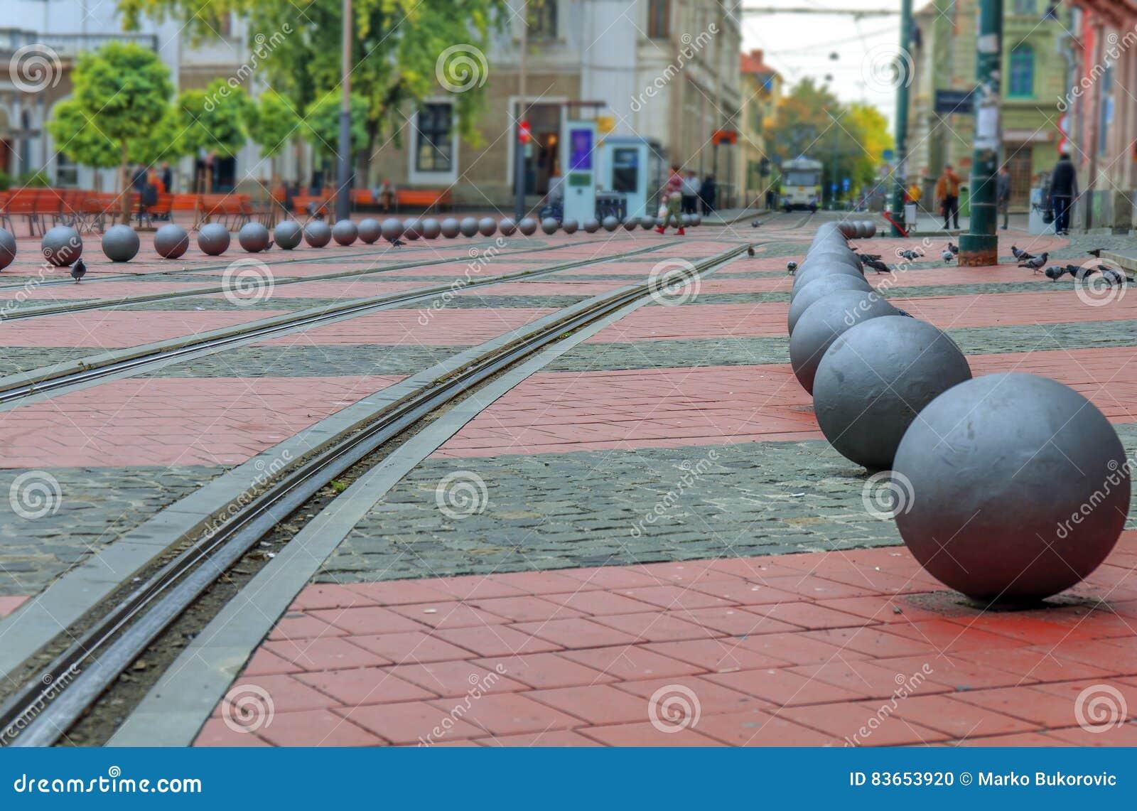 O quadrado da rua da liberdade em Timisoara