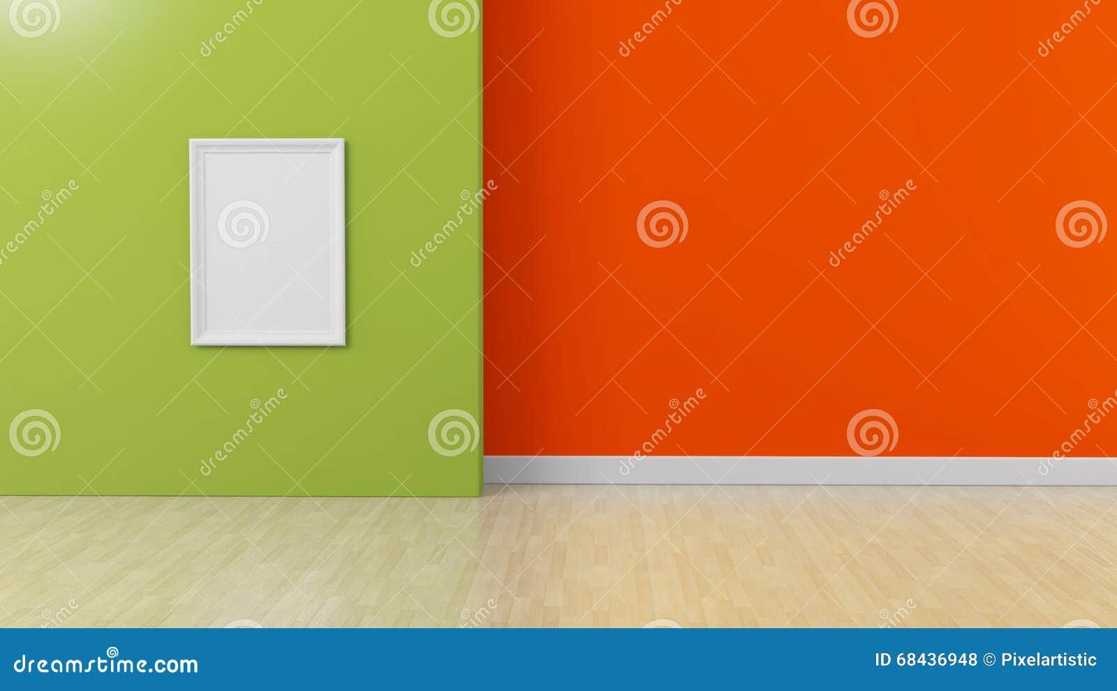 O quadro branco na laranja verde coloriu o fundo interior