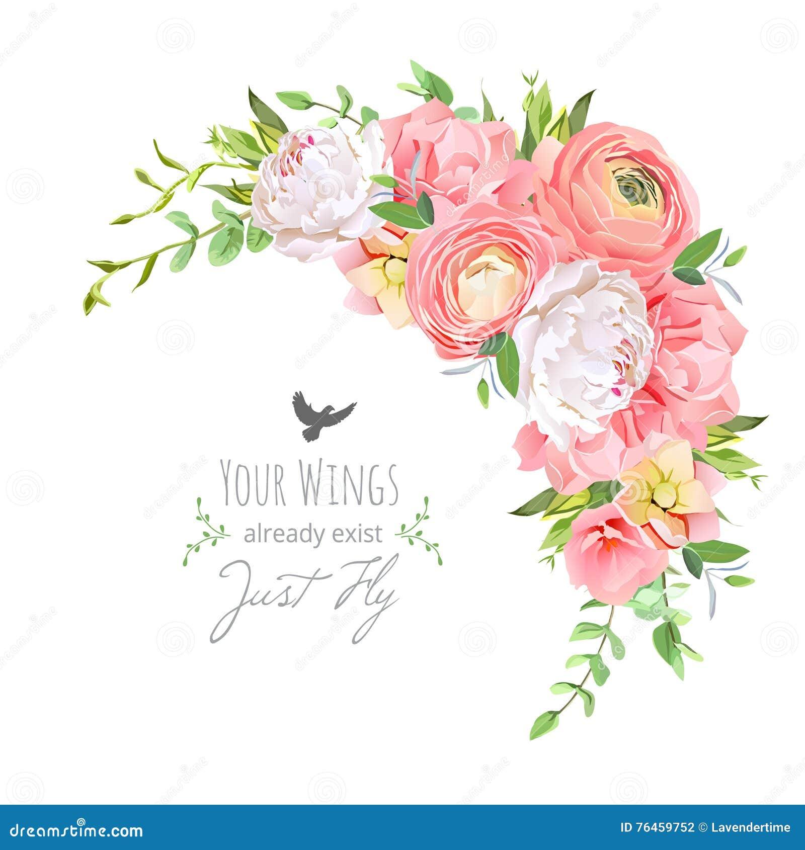 O quadro floral delicado do vetor com ranúnculo brilhante, peônia, aumentou, o cravo, plantas verdes no branco
