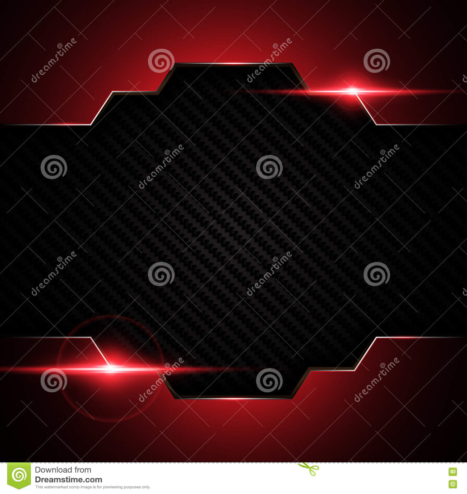 O quadro vermelho preto metálico abstrato na tecnologia do teste padrão da textura de kevlar do carbono ostenta o fundo do concei