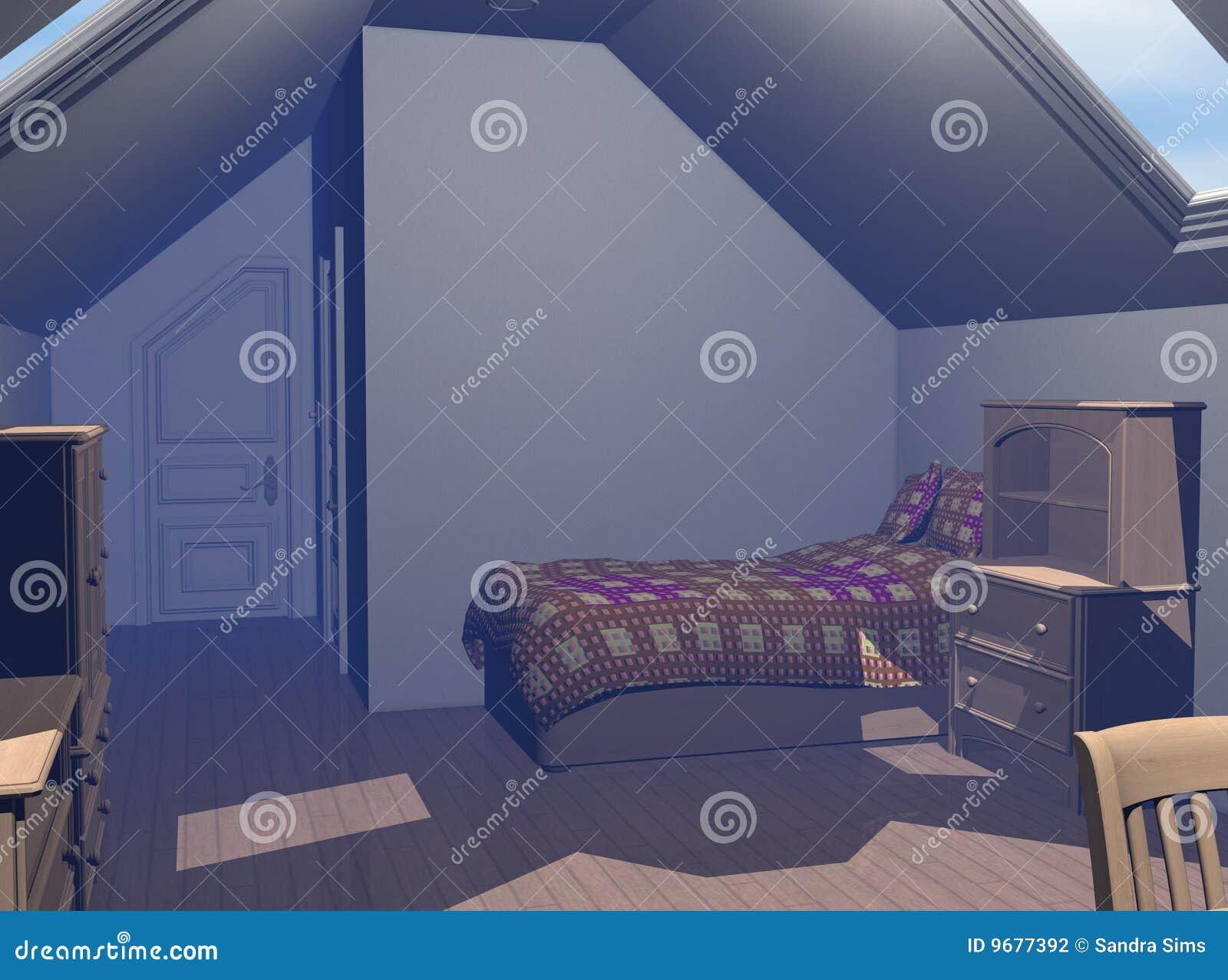 O quarto contemporâneo 3D rende