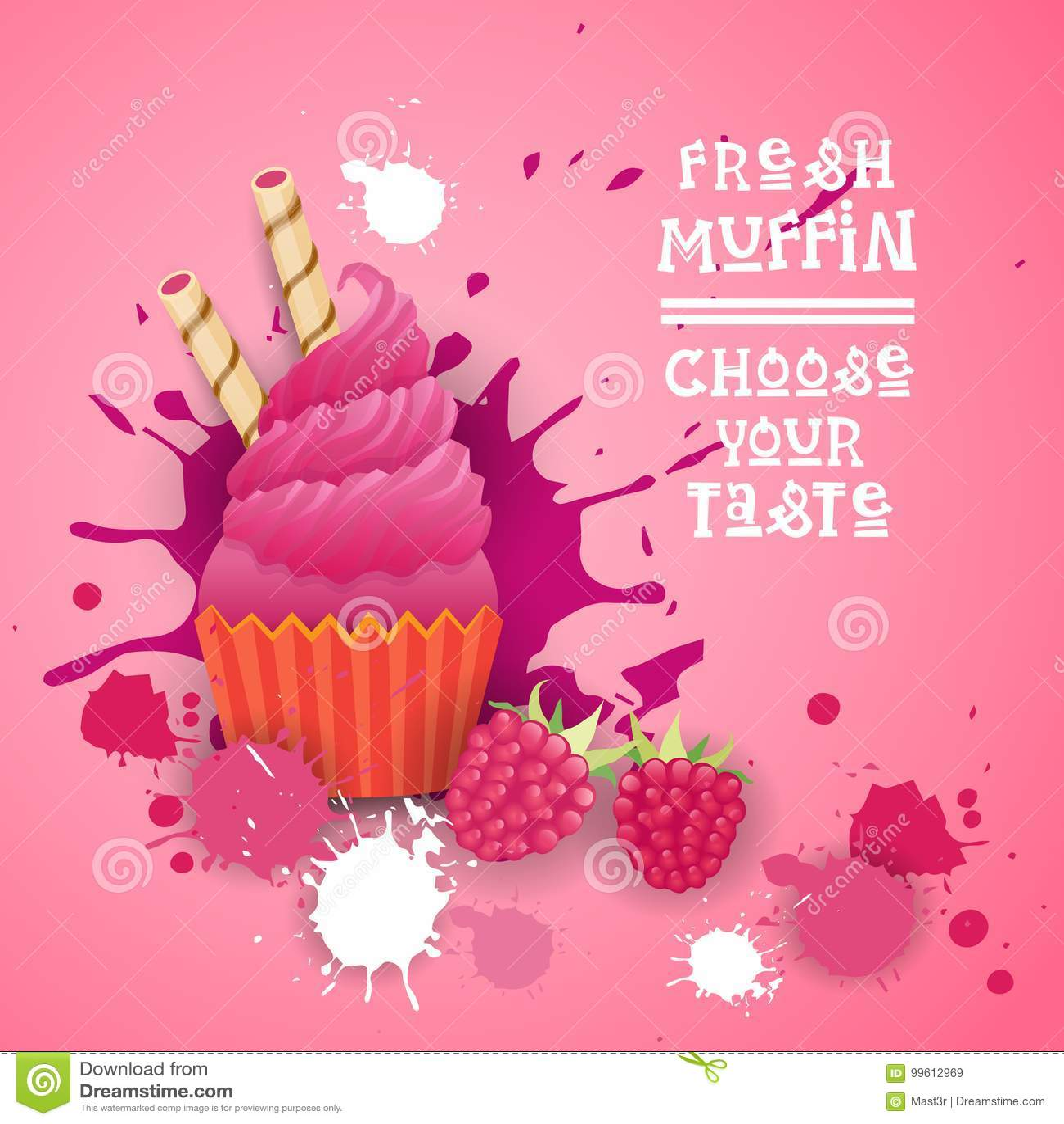 O queque fresco escolhe seu alimento delicioso da sobremesa de Logo Cake Sweet Beautiful Cupcake do gosto