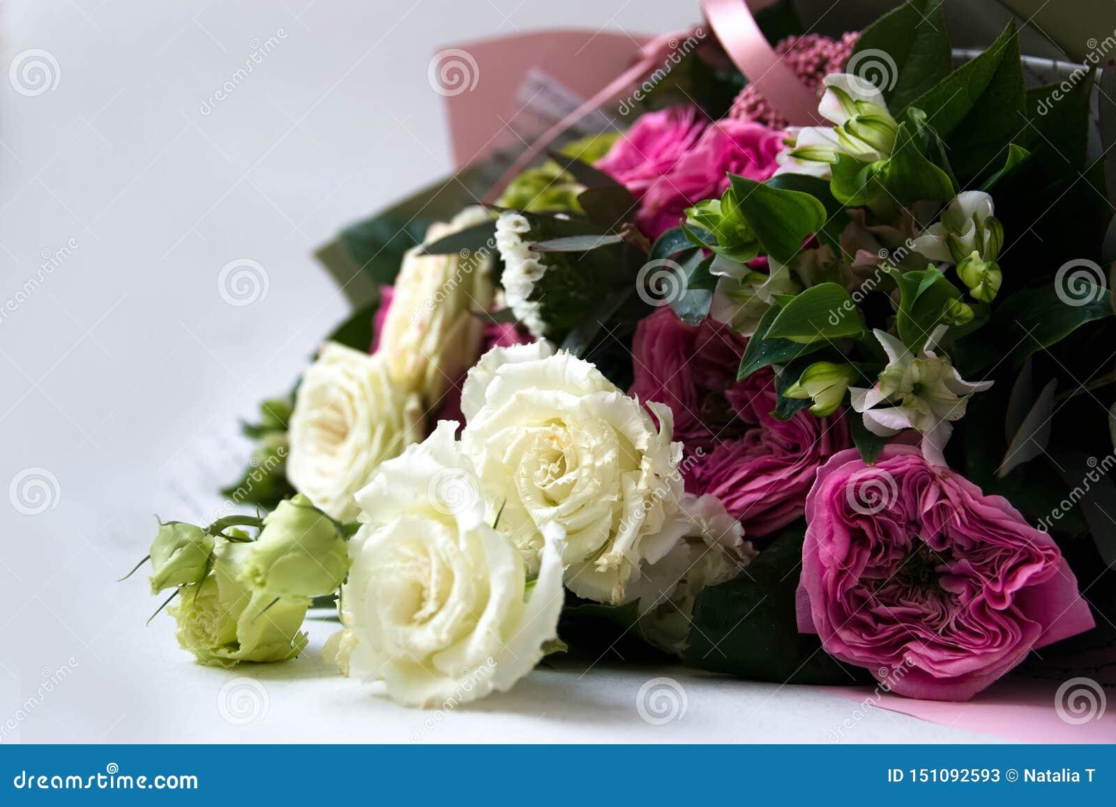 O ramalhete do aniversário da flor, em um fundo branco, aumentou