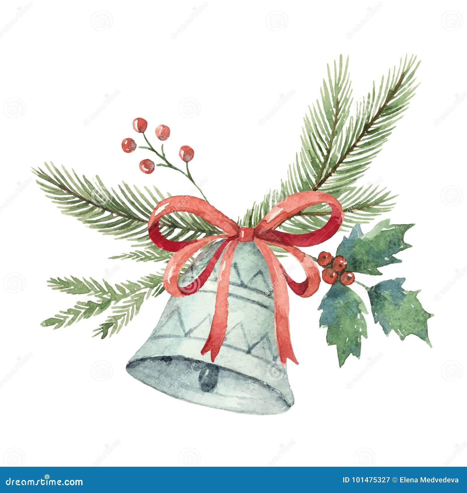 O ramalhete do vetor do Natal da aquarela com sino e abeto ramifica