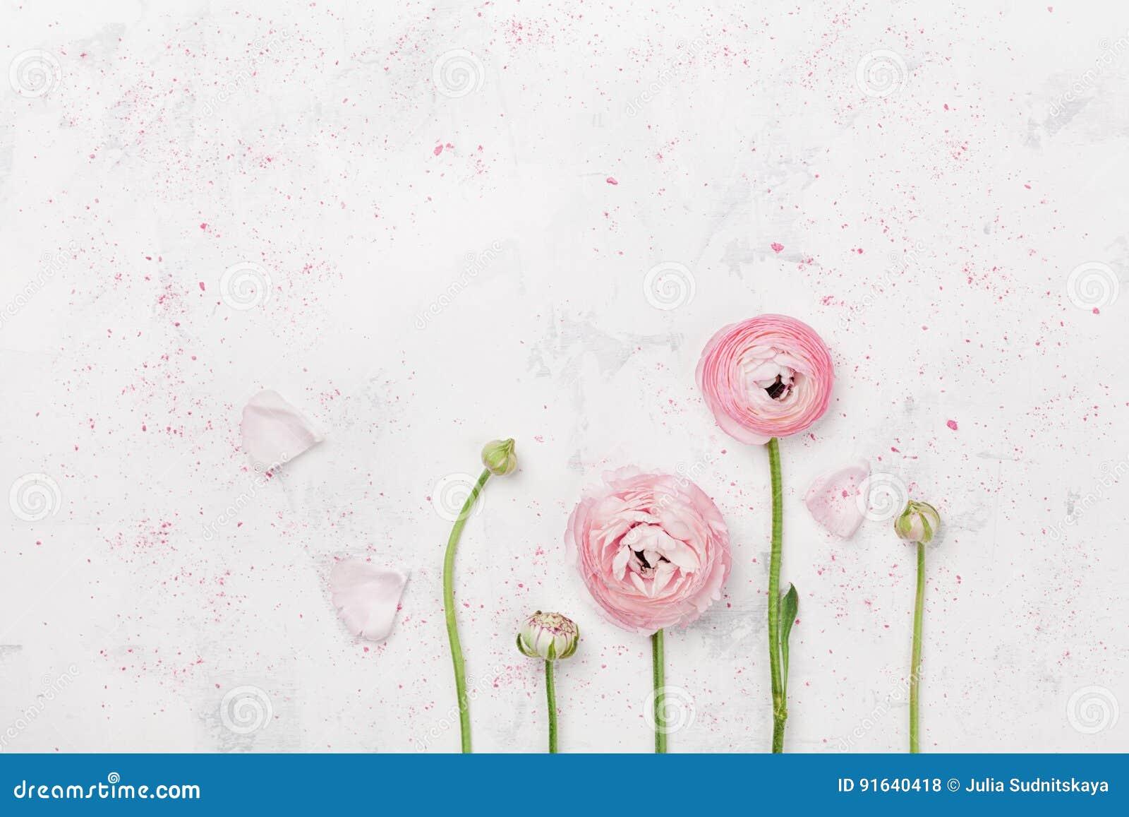 O ranúnculo cor-de-rosa bonito floresce na opinião de tampo da mesa branca Beira floral na cor pastel Modelo do casamento no esti