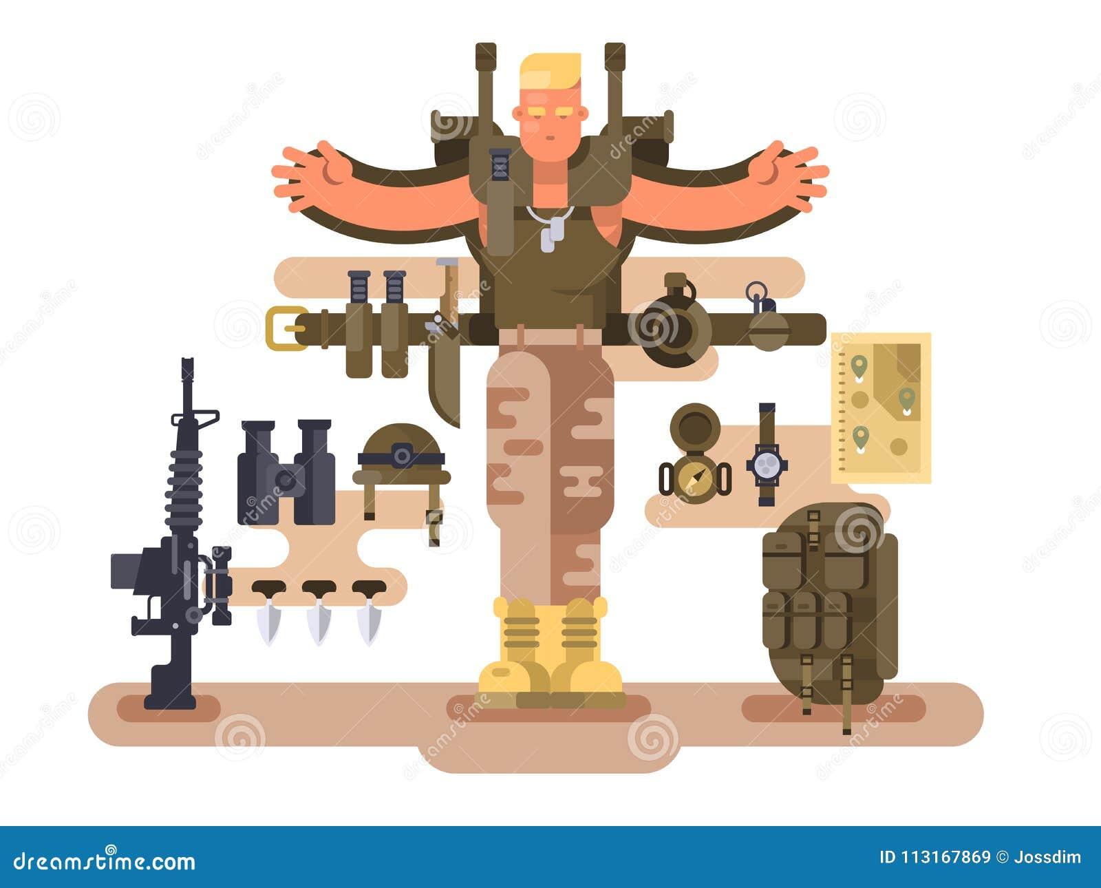 O recruta e a munição militares do soldado projetam horizontalmente