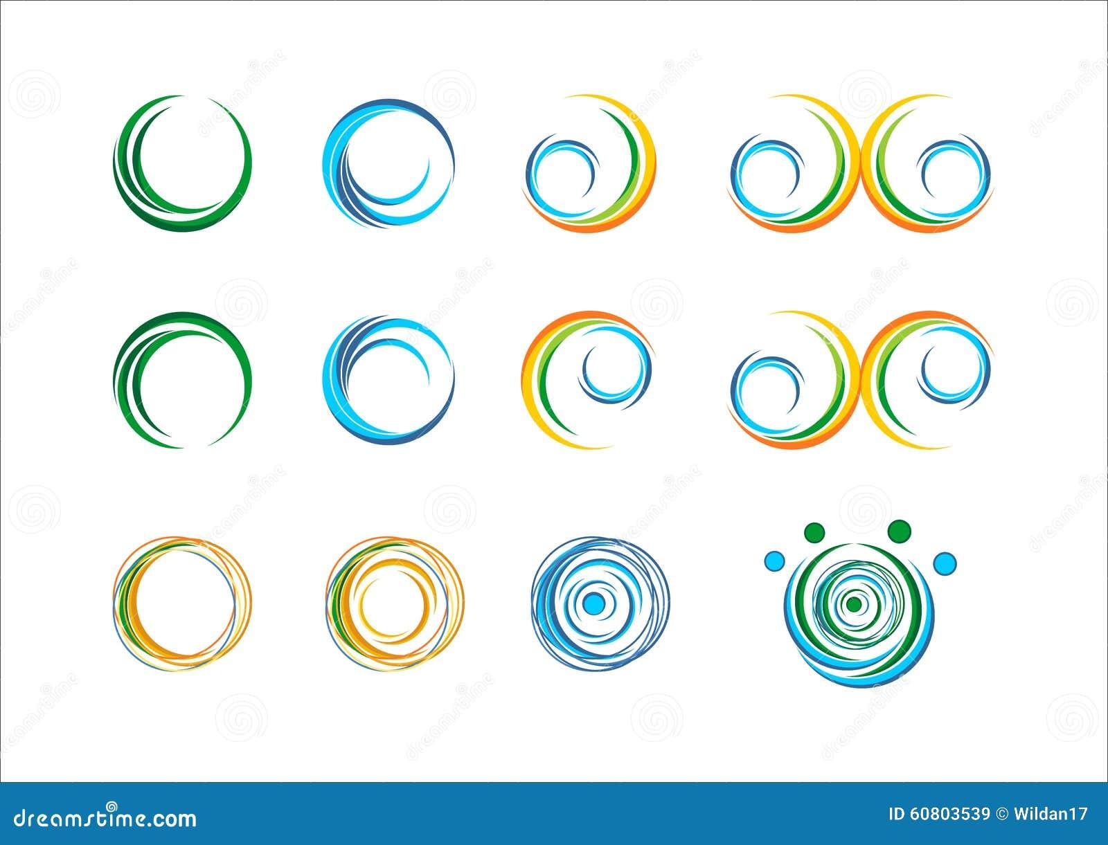 O redemoinho do sol do sumário da chama das asas das folhas da esfera da planta da mola do logotipo da água da onda do círculo es