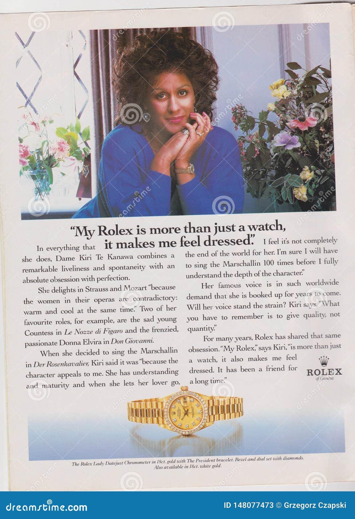 O relógio de Rolex da propaganda de cartaz no compartimento desde 1992, meu Rolex é mais do que apenas um relógio, ele me faz sen