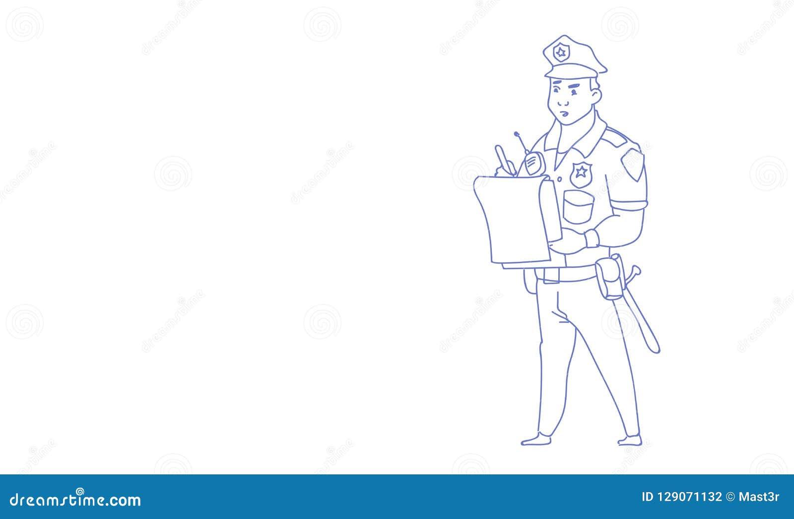 O relatório da escrita do polícia que veste o esboço uniforme do protetor da bobina rabisca horizontal