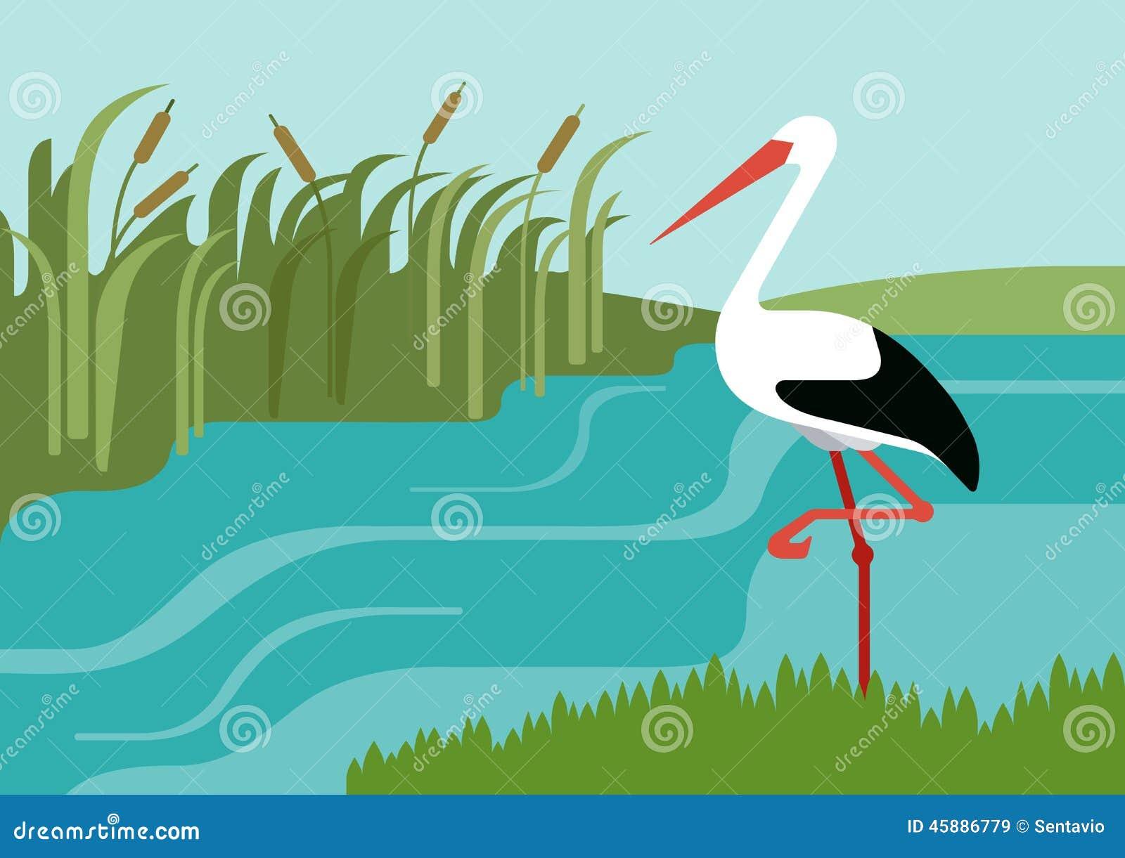 banco de jardim vetor:Vector River Cartoon