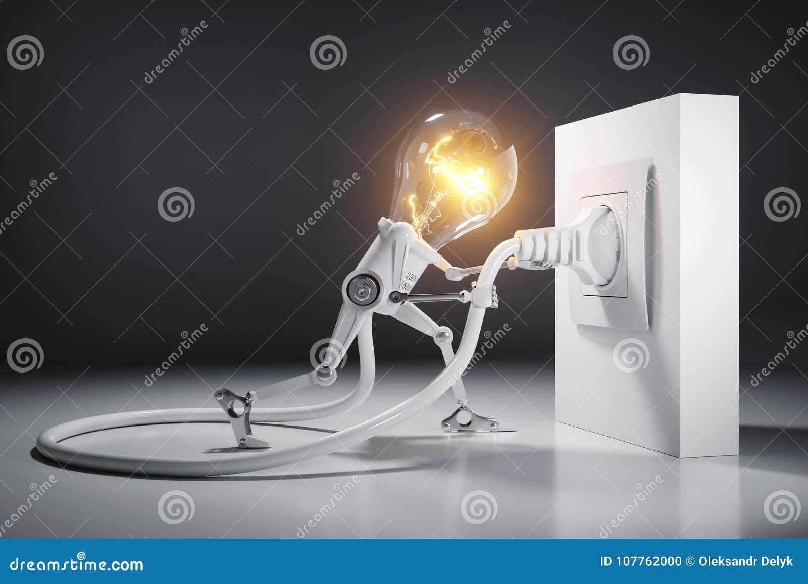O robô da ampola dos desenhos animados une uma tomada elétrica à parede