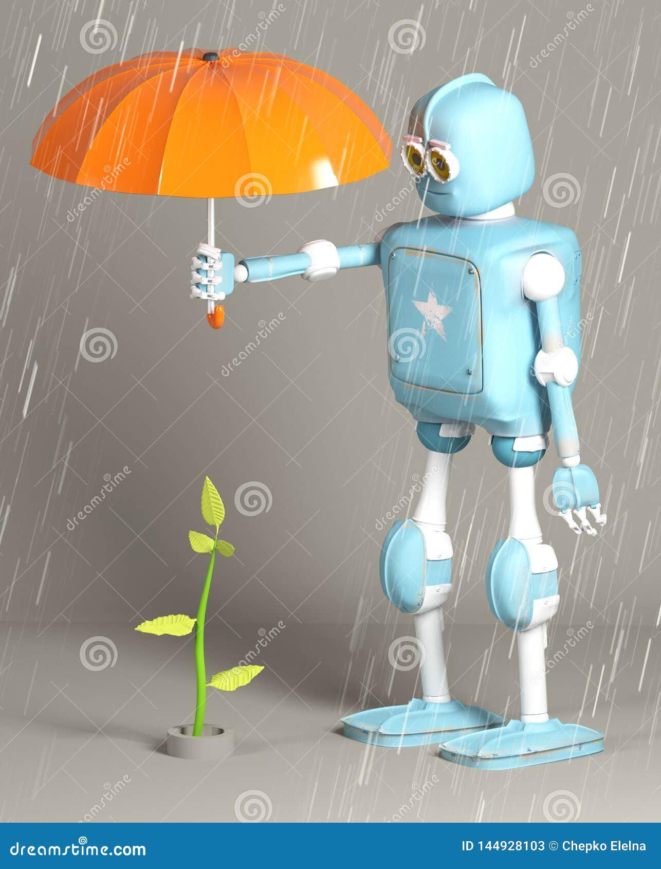 O robô retro protege o broto, planta, 3d, rende