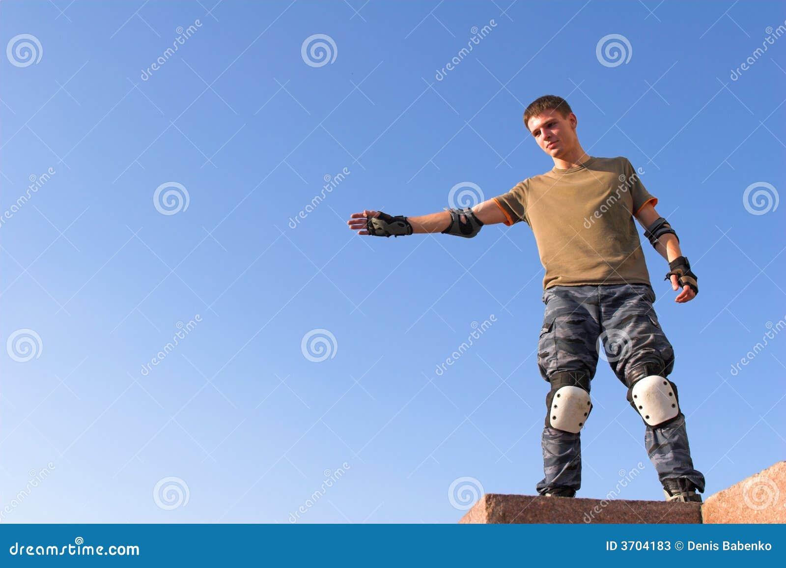 O rolo prepara-se para o salto elevado