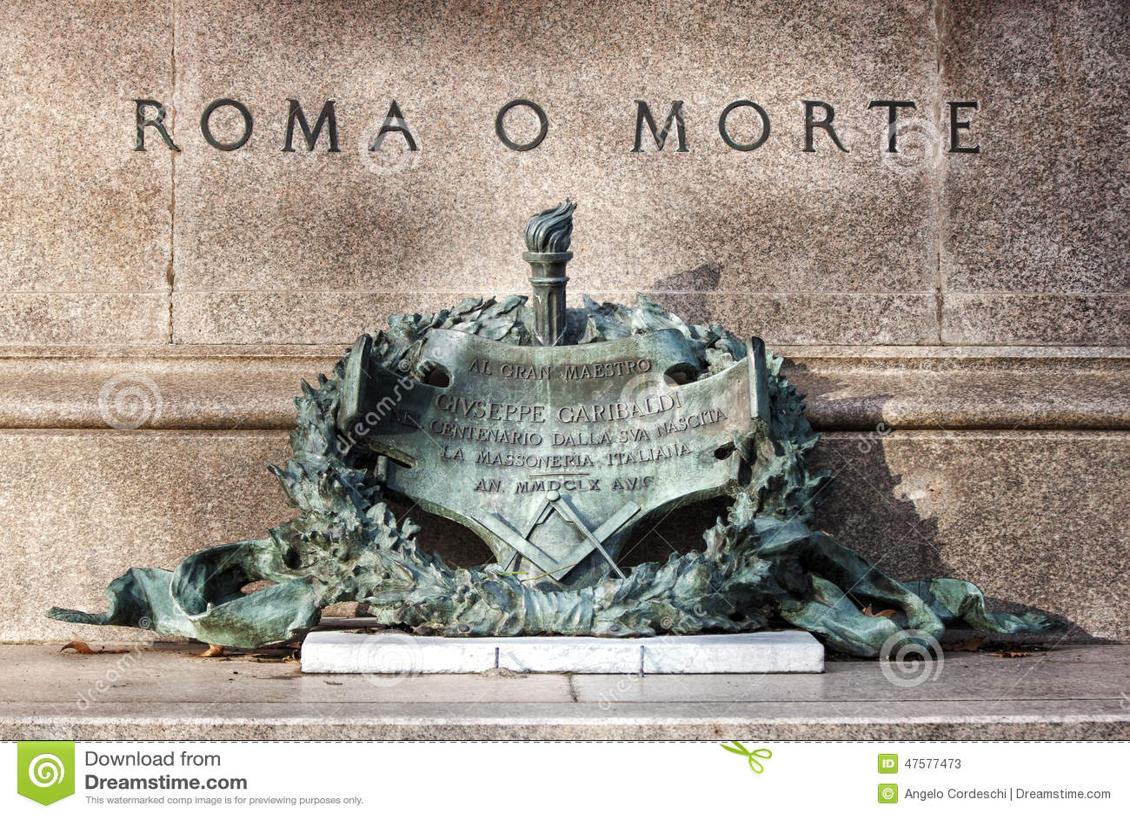 O Roma O Muerte Frase Del Garibaldi Imagen De Archivo