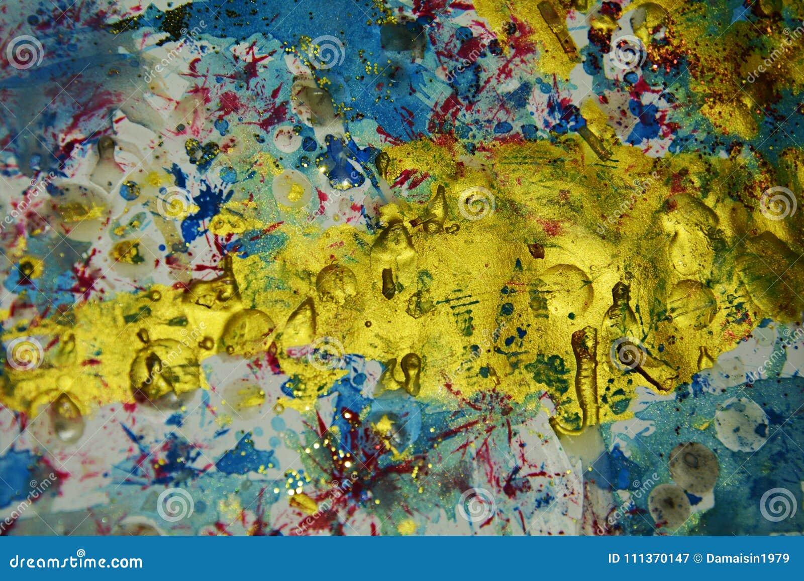 O rosa azul do ouro espirra, contrastes, fundo criativo da aquarela da pintura