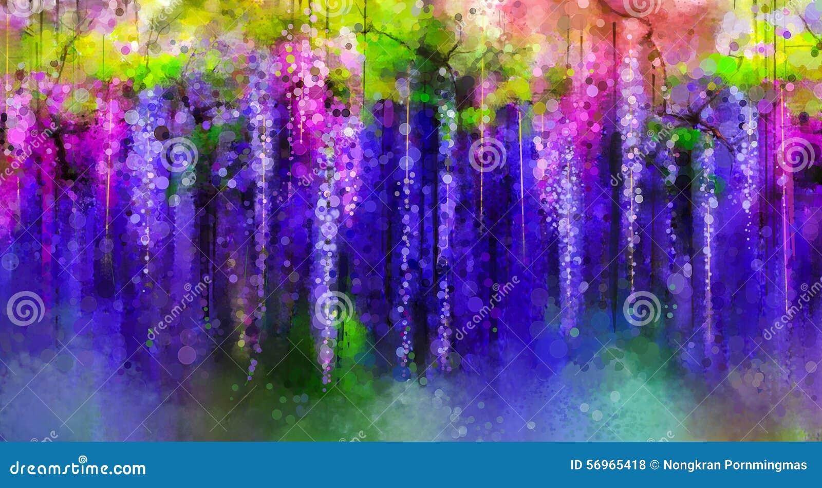 O roxo da mola floresce a glicínia Pintura da aguarela