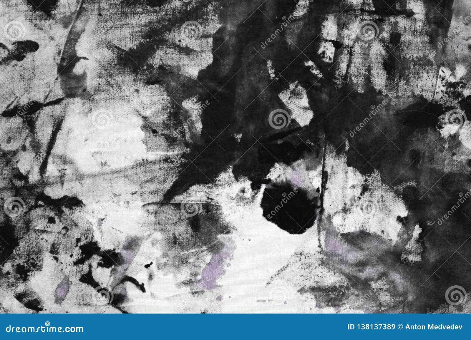 O roxo gasto criativo aleatoriamente pintou a lona, tela com os pontos da pintura da cor e borra a textura para o uso como o fund