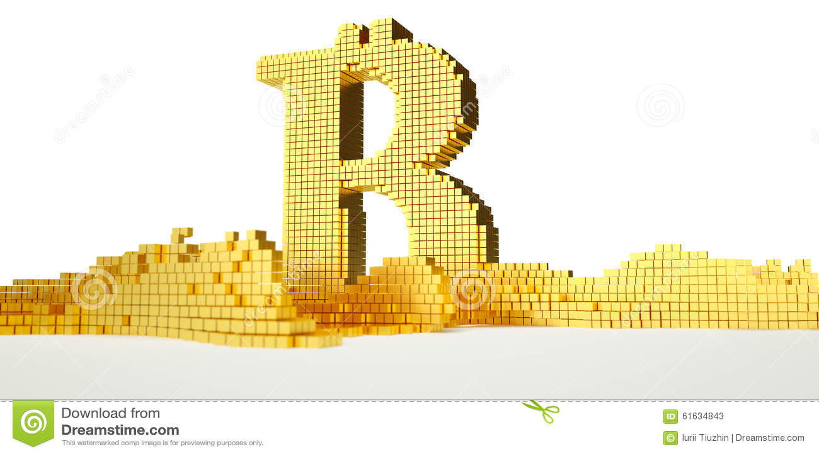 O símbolo de Bitcoin derrete no ouro líquido Trajeto