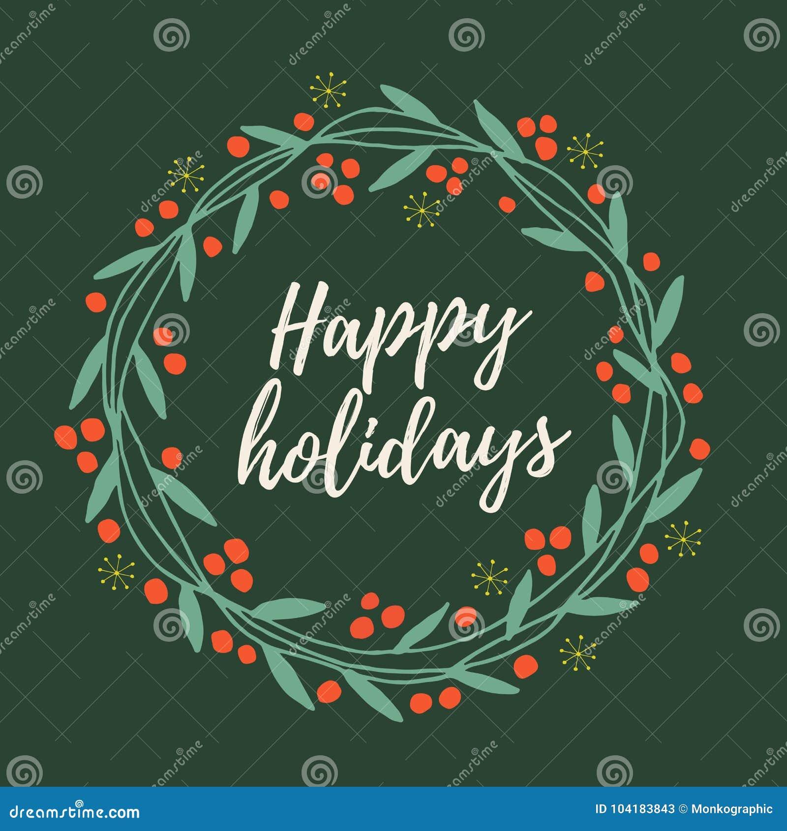 O ` s do Natal e do ano novo envolve-se fora dos galhos, das folhas e das bagas vermelhas com palavras boas festas no fundo verde
