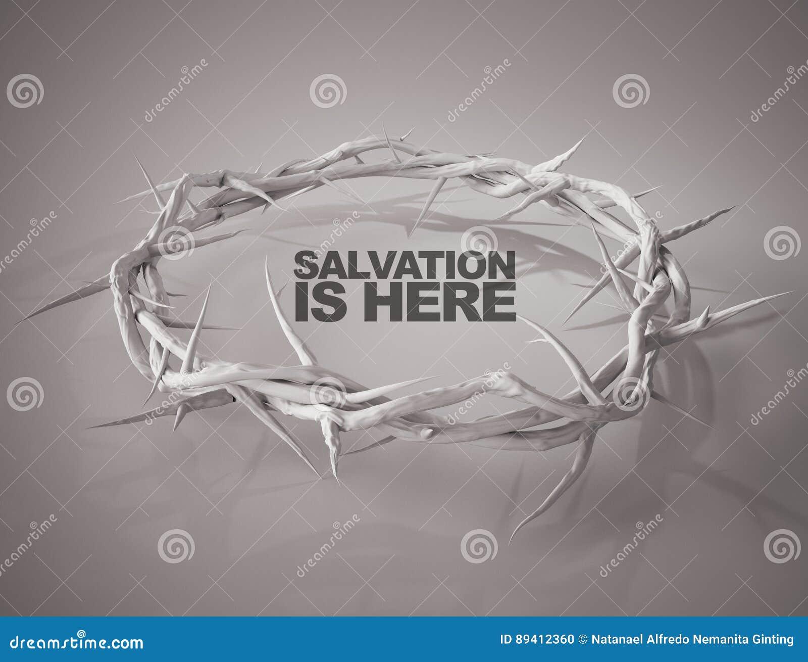 O salvação está aqui coroa da rendição dos espinhos 3D