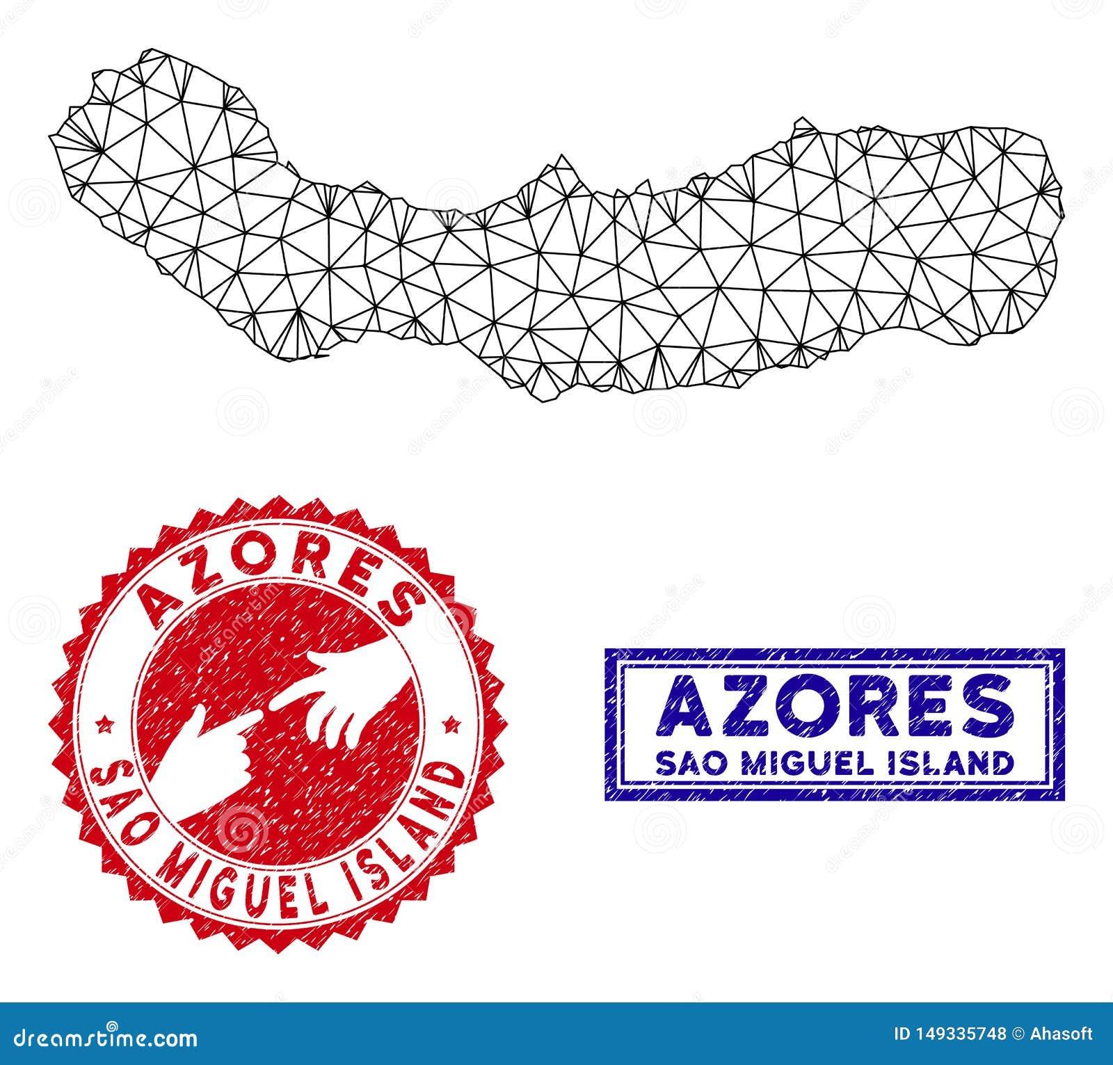 2.o sao poligonal Miguel Island Map y sellos del Grunge