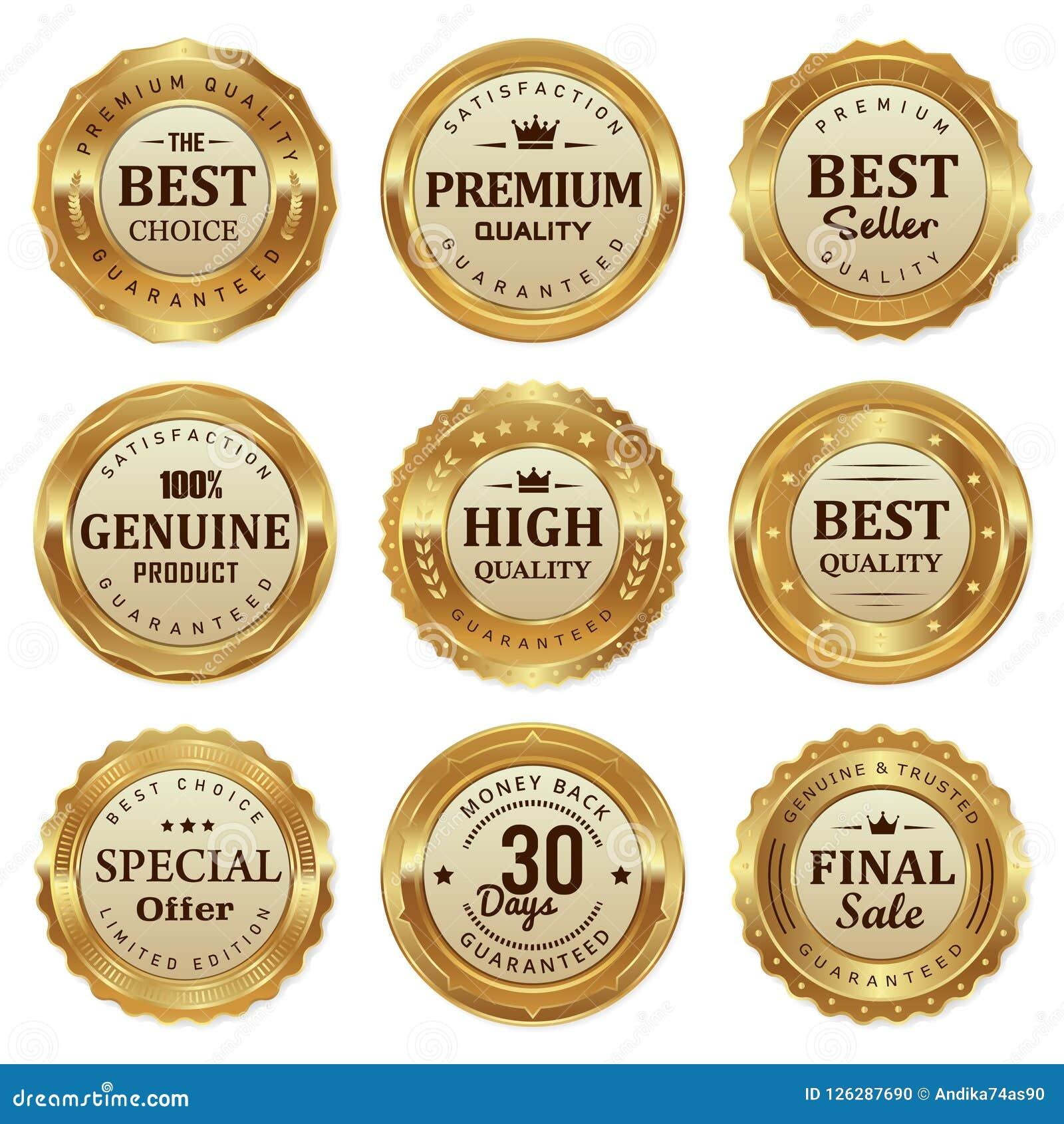O selo elegante do ouro etiqueta o produto de qualidade