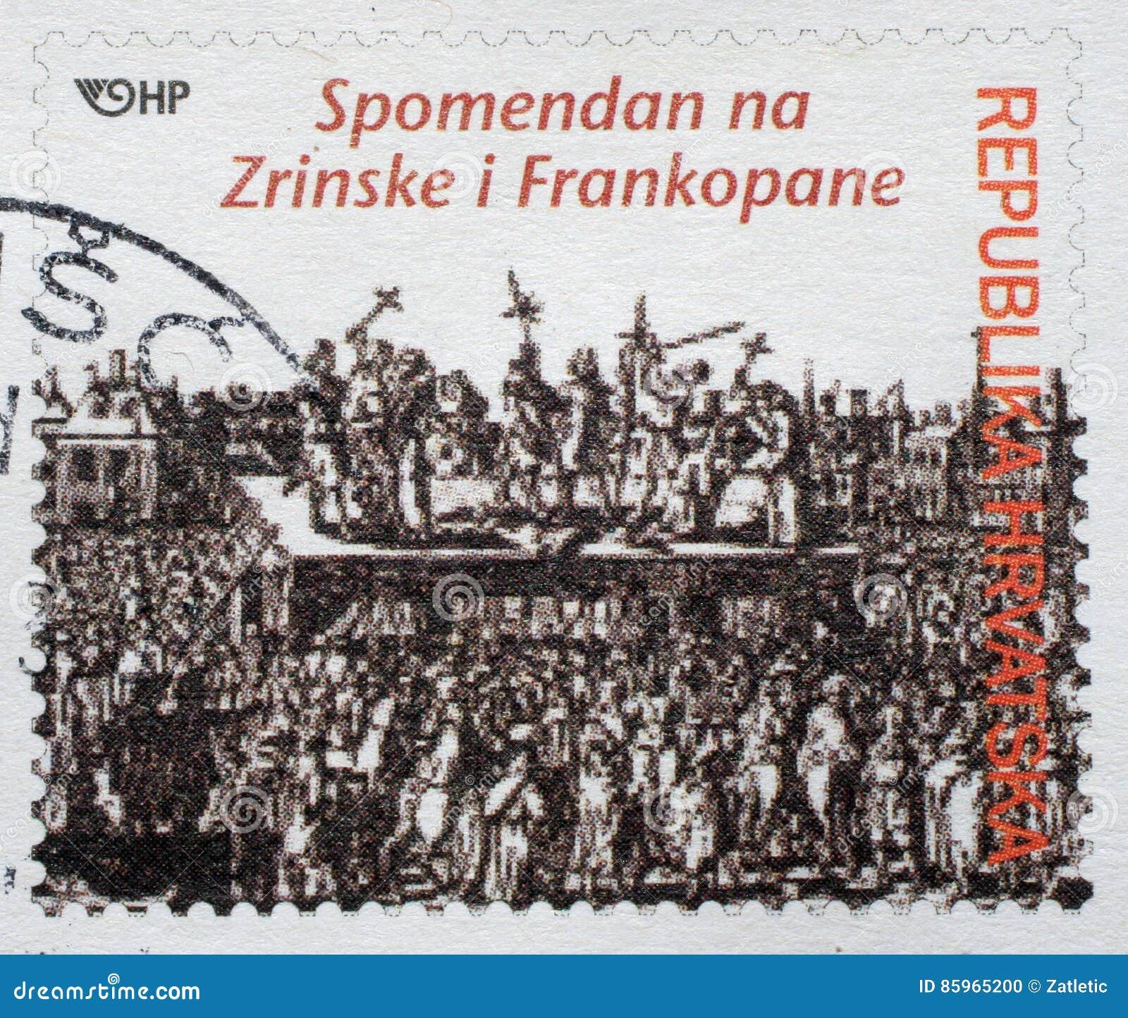 O selo memorável dedicado ao Zrinski e ao Frankopan imprimiu na Croácia