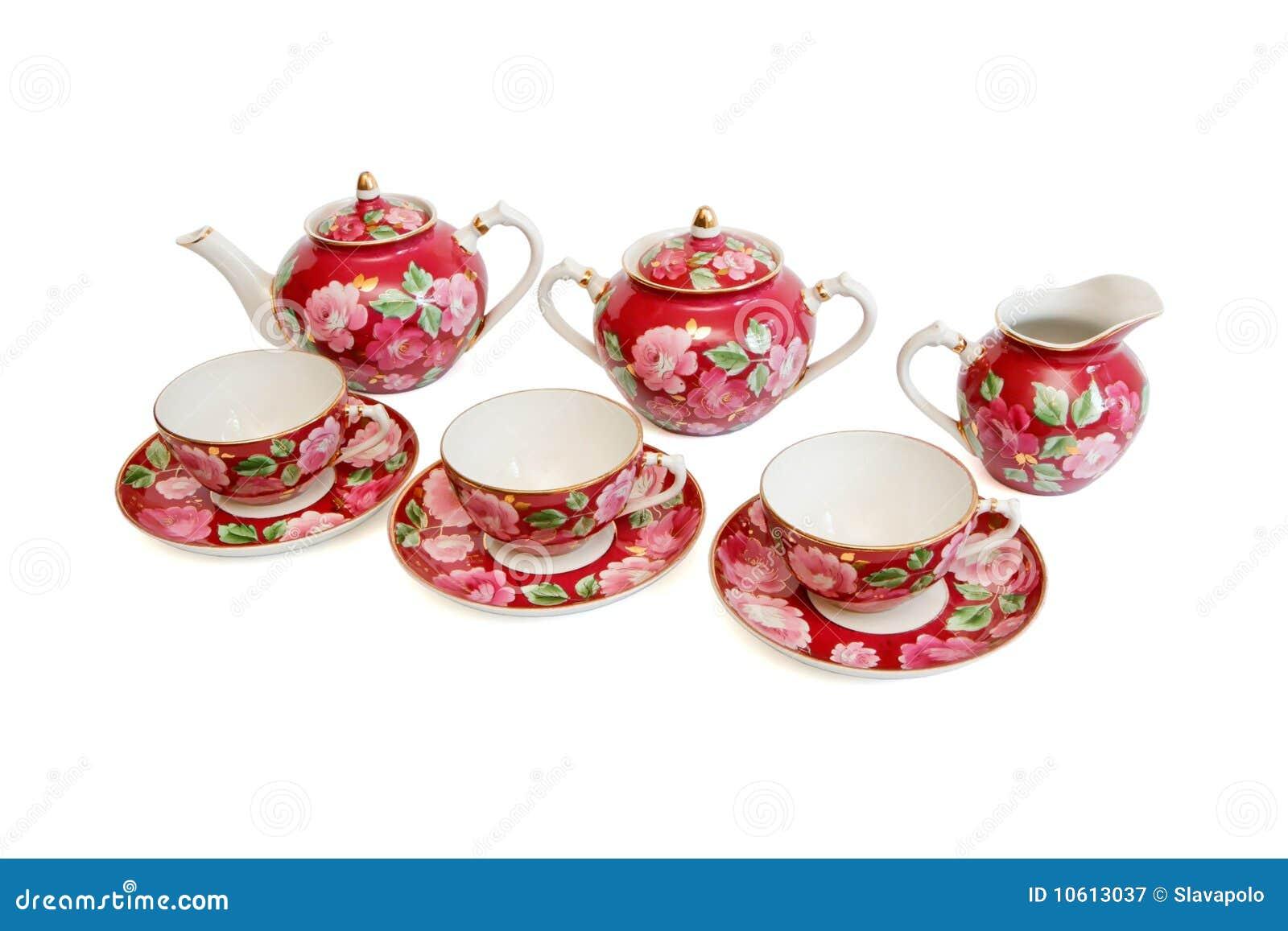 O serviço de chá vermelho bonito isolou-se