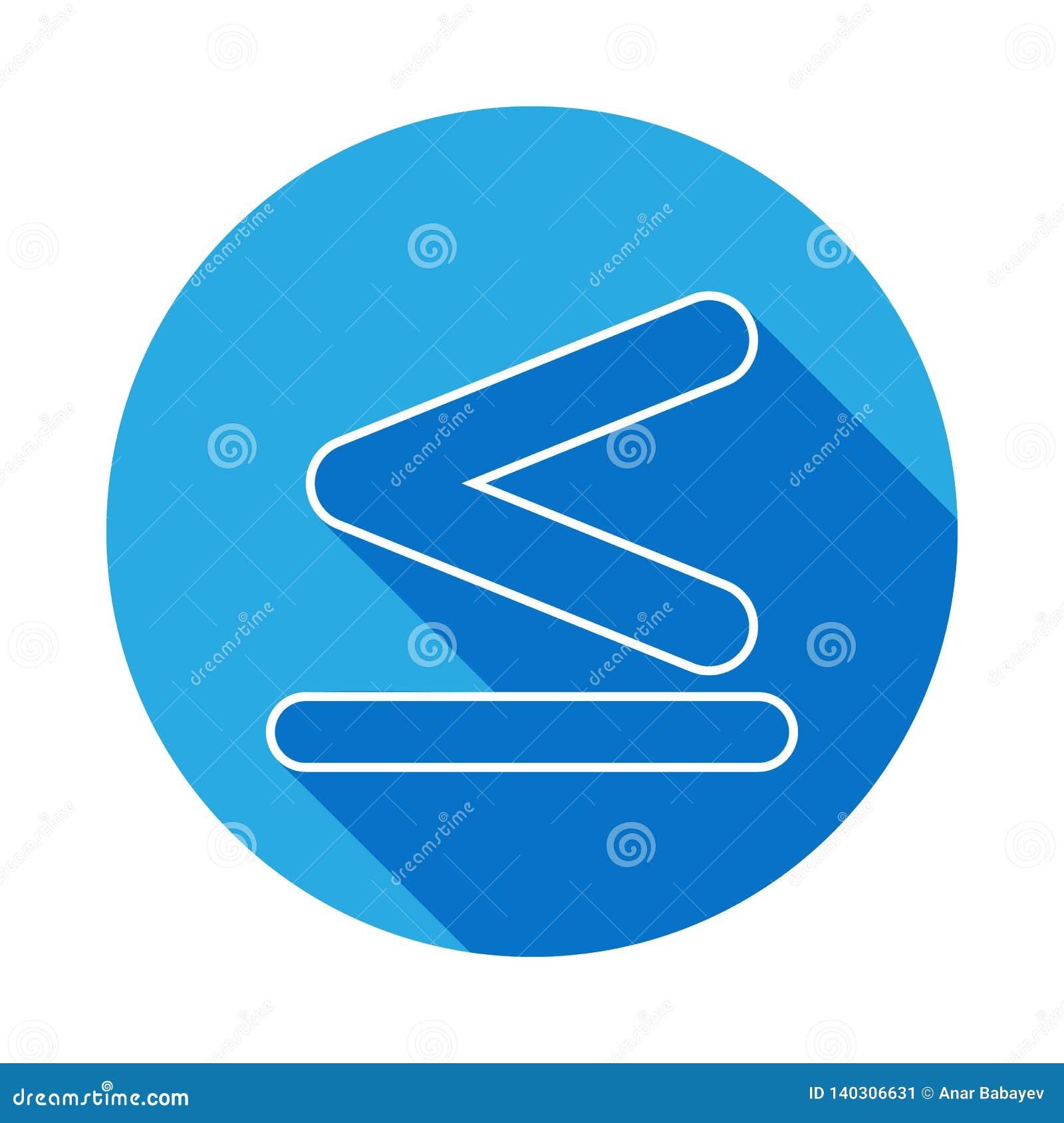 O sinal é menos do que e igual ao ícone com sombra longa Linha fina ícone para o projeto do Web site e o desenvolvimento, desenvo
