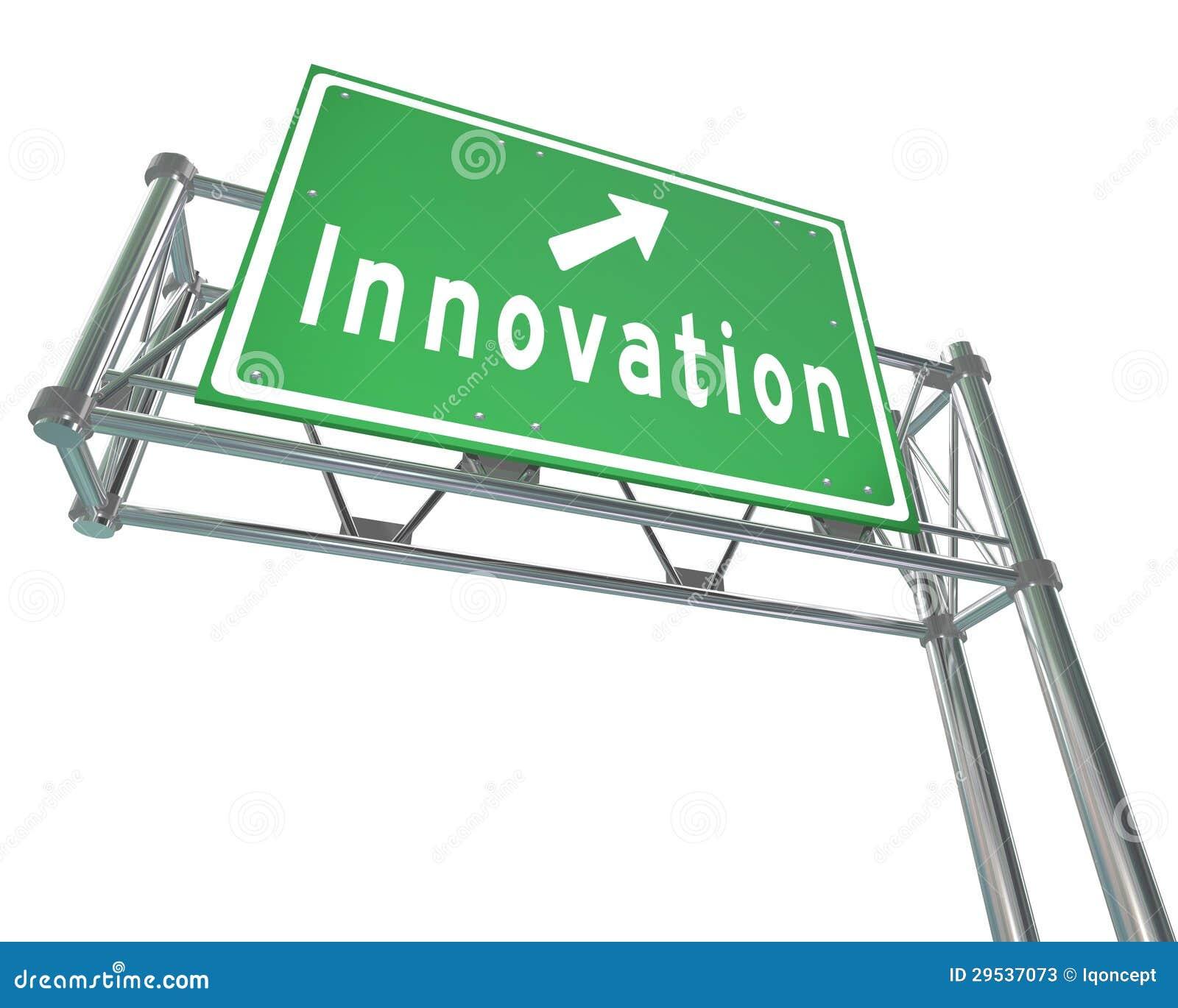 O sinal de estrada da autoestrada da inovação conduz para progredir mudança