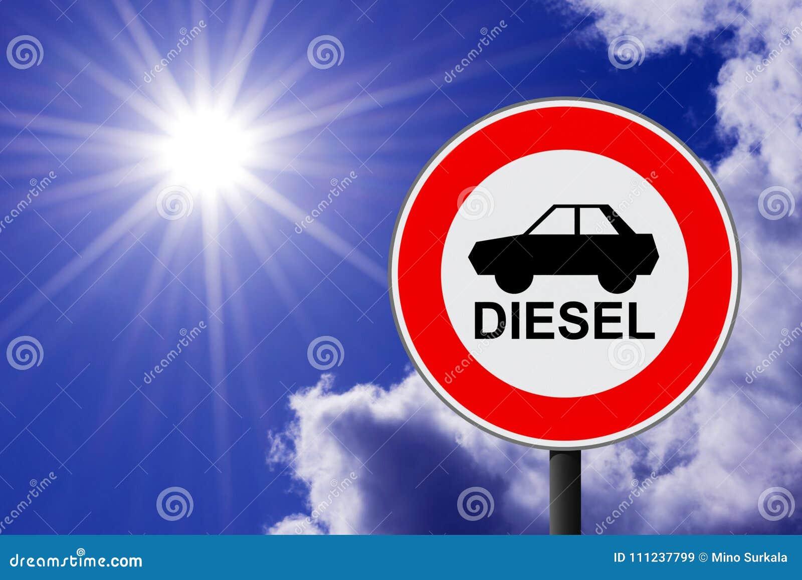 O sinal de tráfego que proibe para usar carros diesel