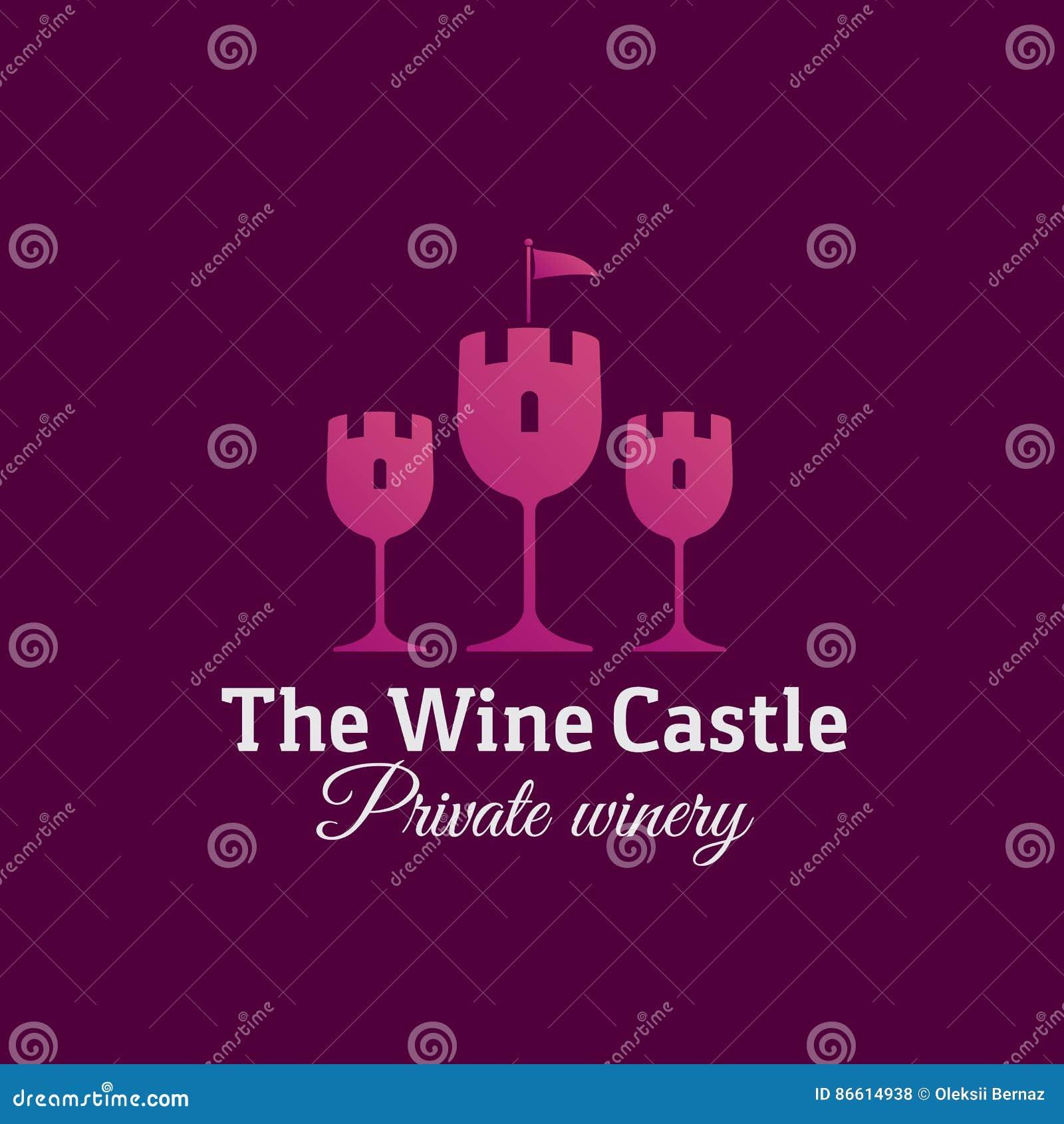 O sinal, o emblema ou o Logo Template do vetor do sumário do castelo do vinho Símbolo dos vidros como o conceito criativo da silh